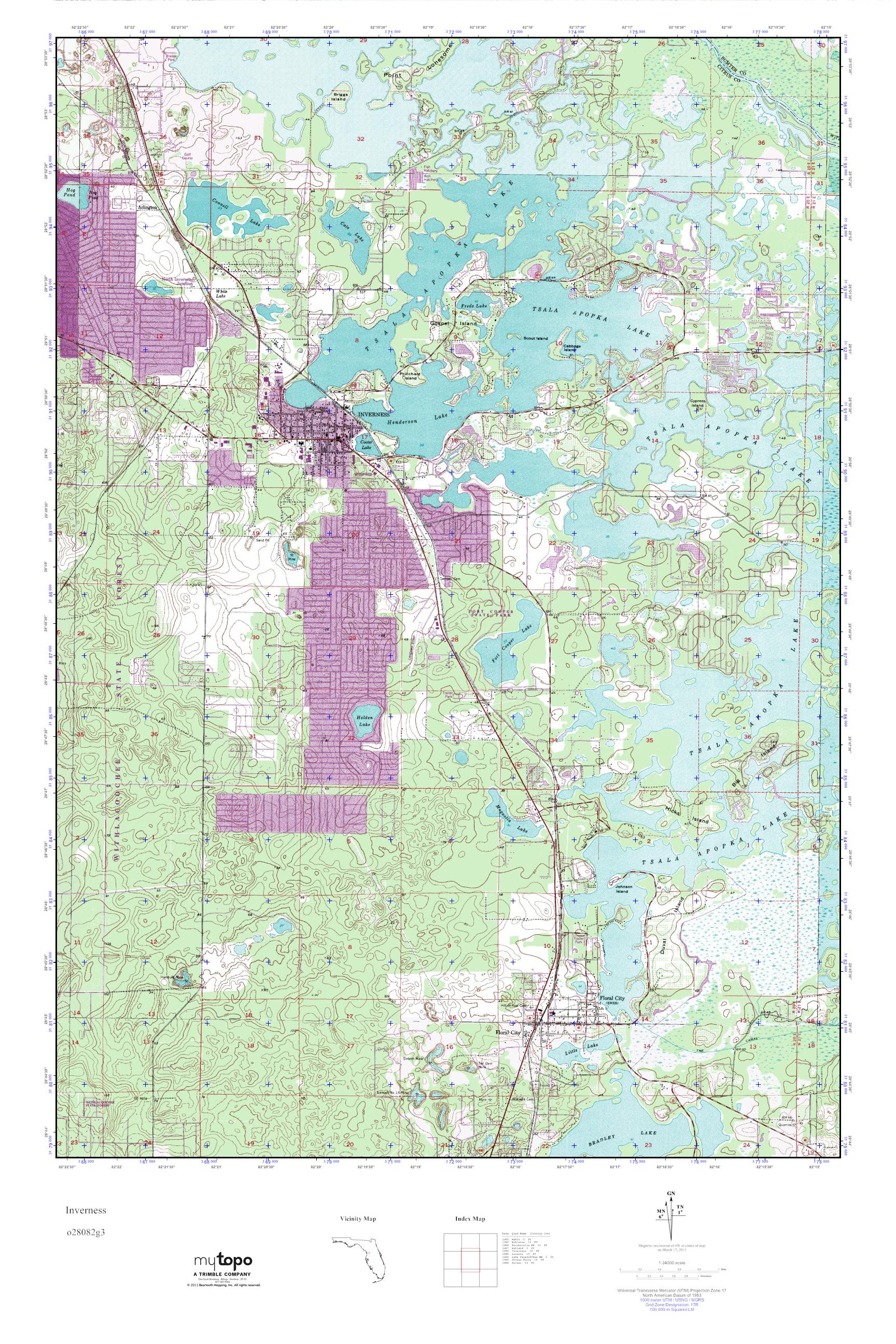 Inverness Florida Map.Mytopo Inverness Florida Usgs Quad Topo Map