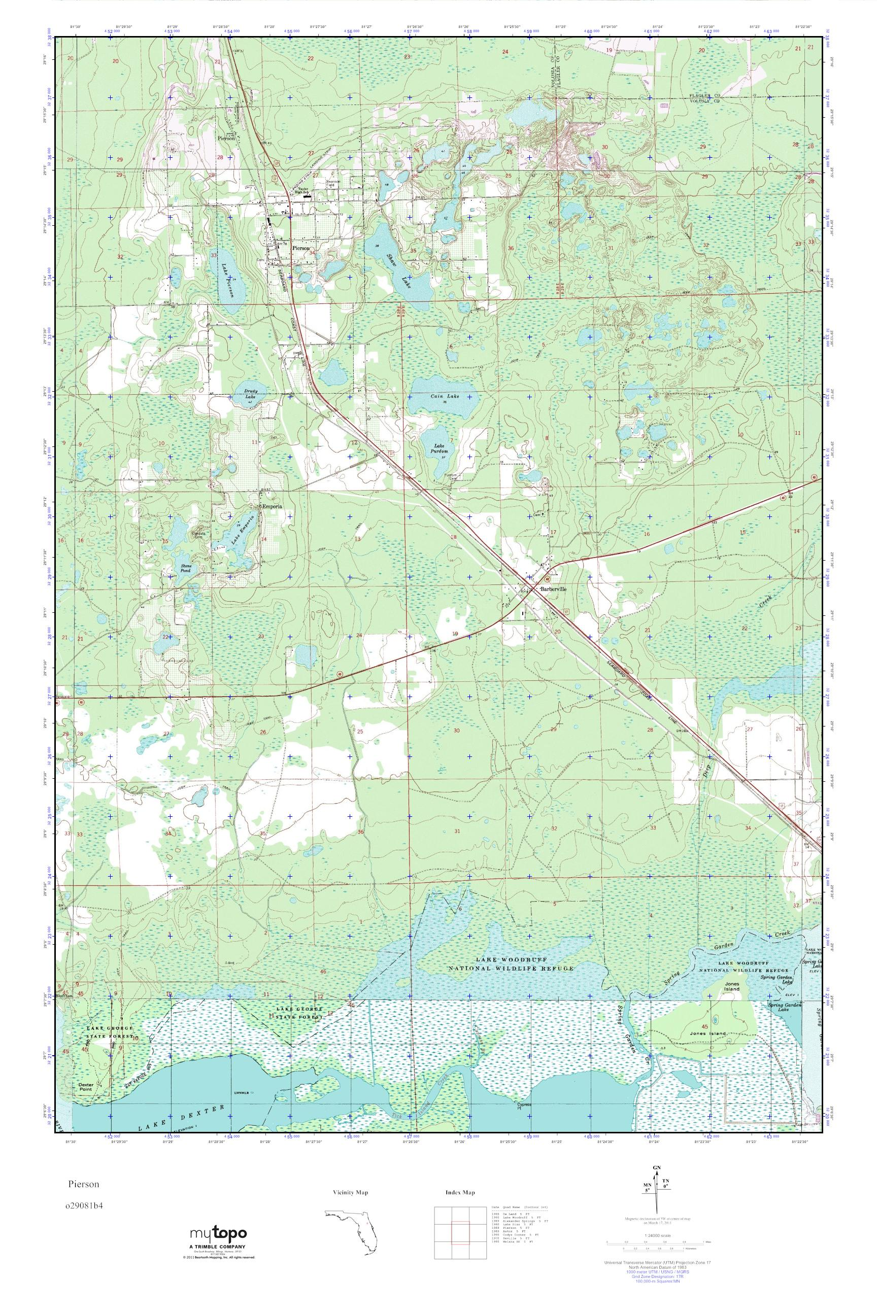 Mytopo Pierson Florida Usgs Quad Topo Map