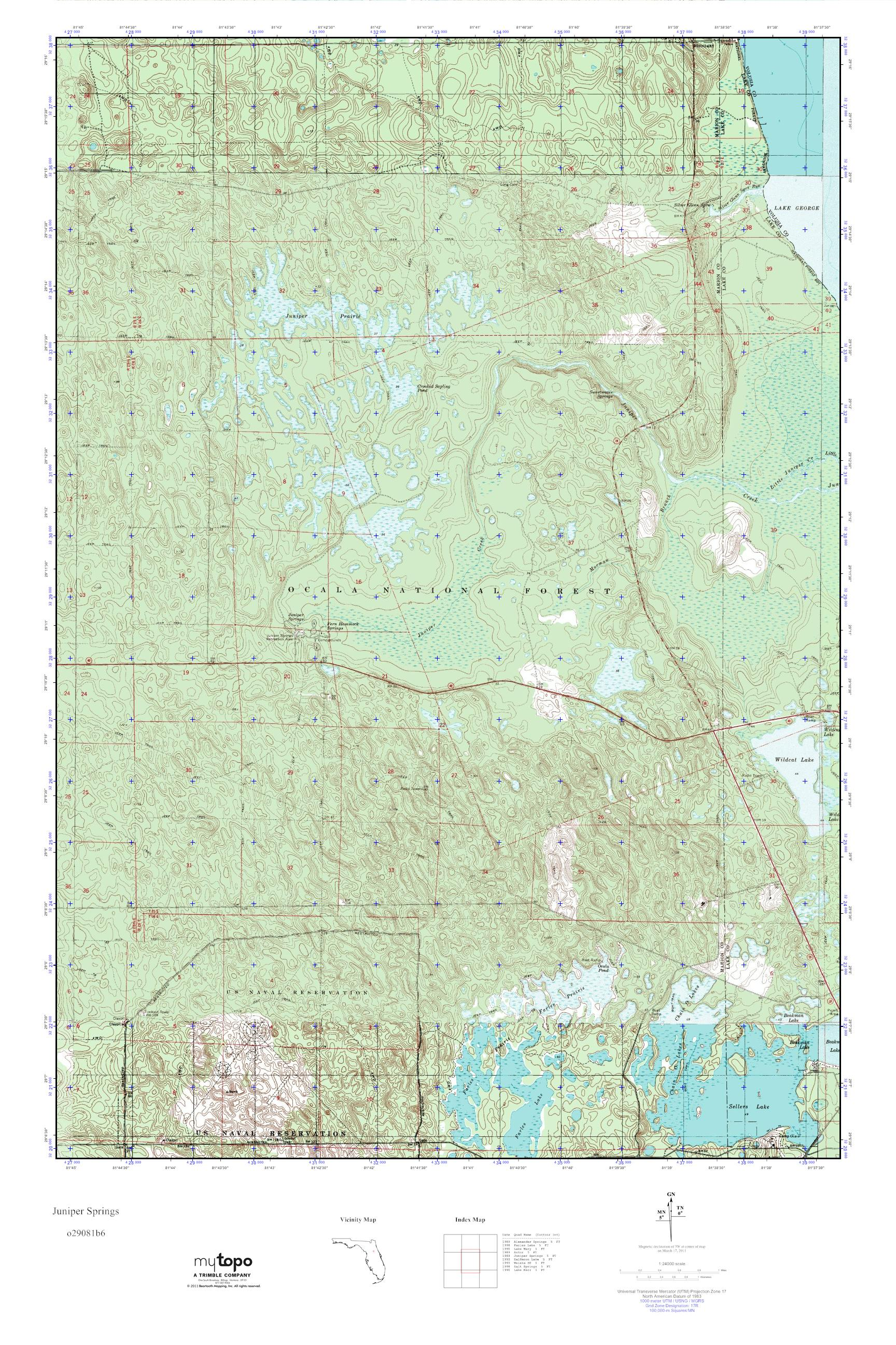 Florida Topographic Map.Mytopo Juniper Springs Florida Usgs Quad Topo Map