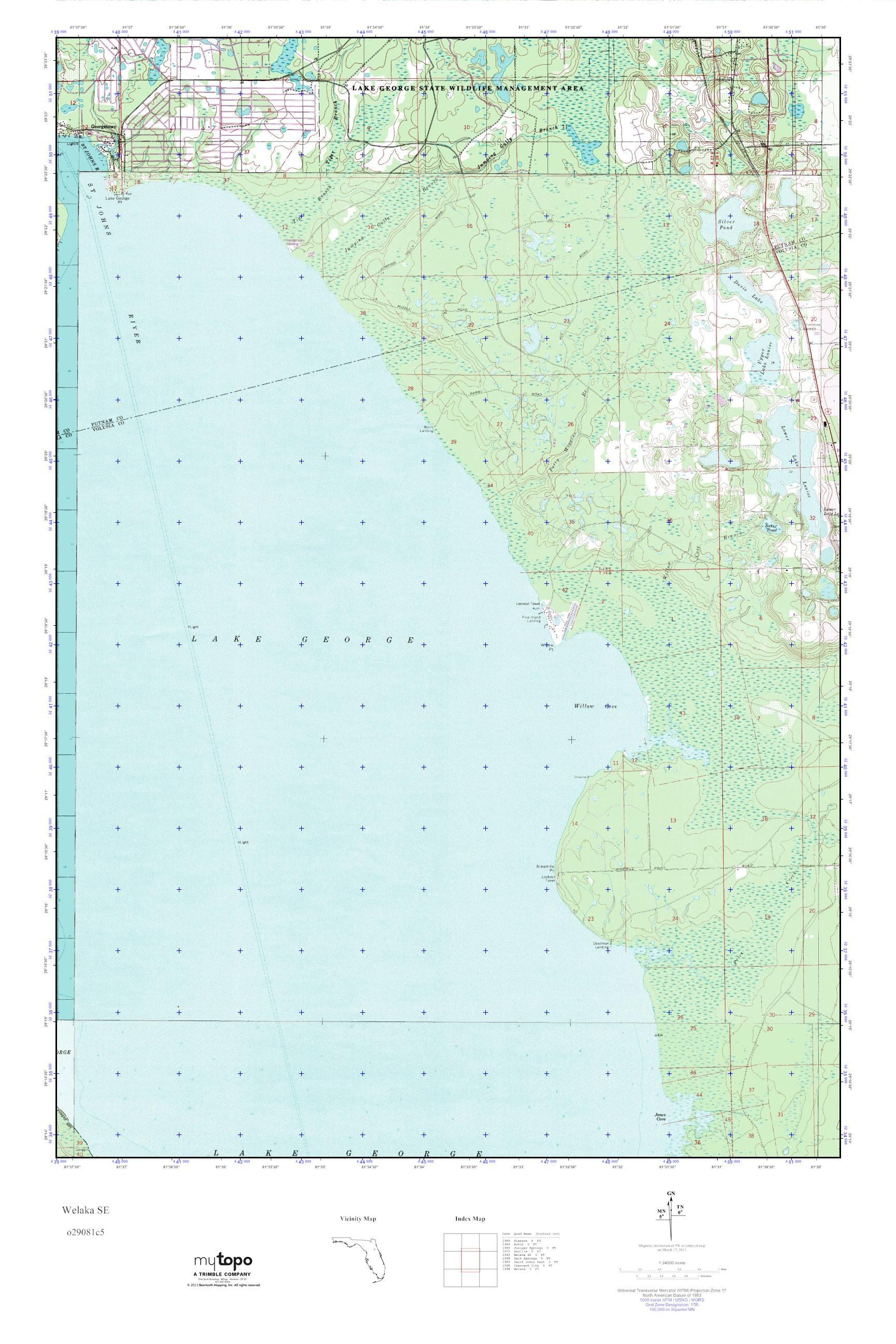 Mytopo Welaka Se Florida Usgs Quad Topo Map