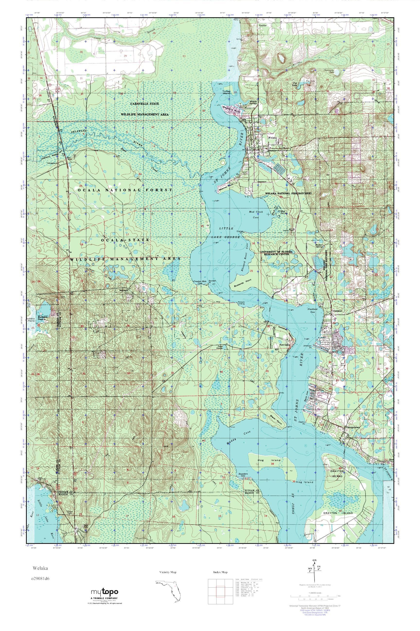 Mytopo Welaka Florida Usgs Quad Topo Map