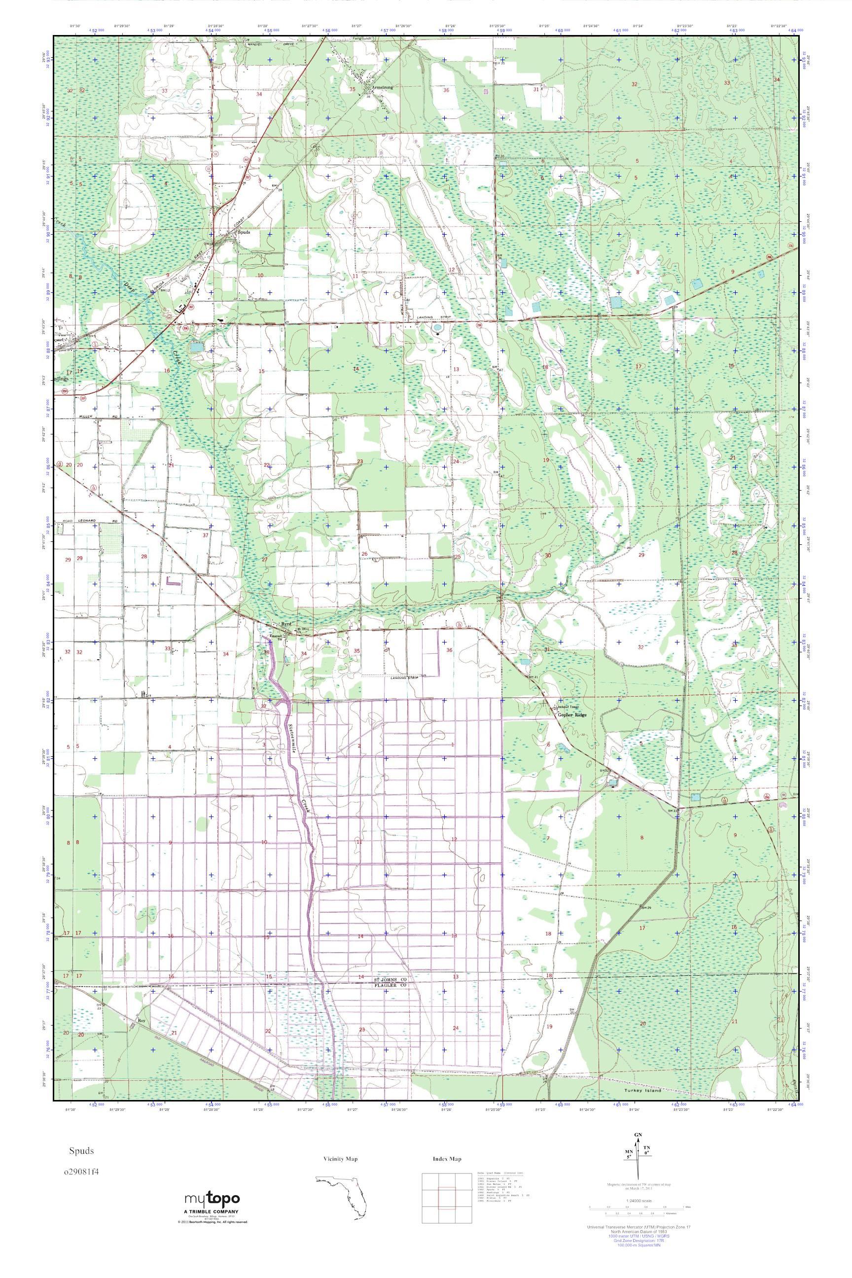 MyTopo Spuds Florida USGS Quad Topo Map - Florida quad map