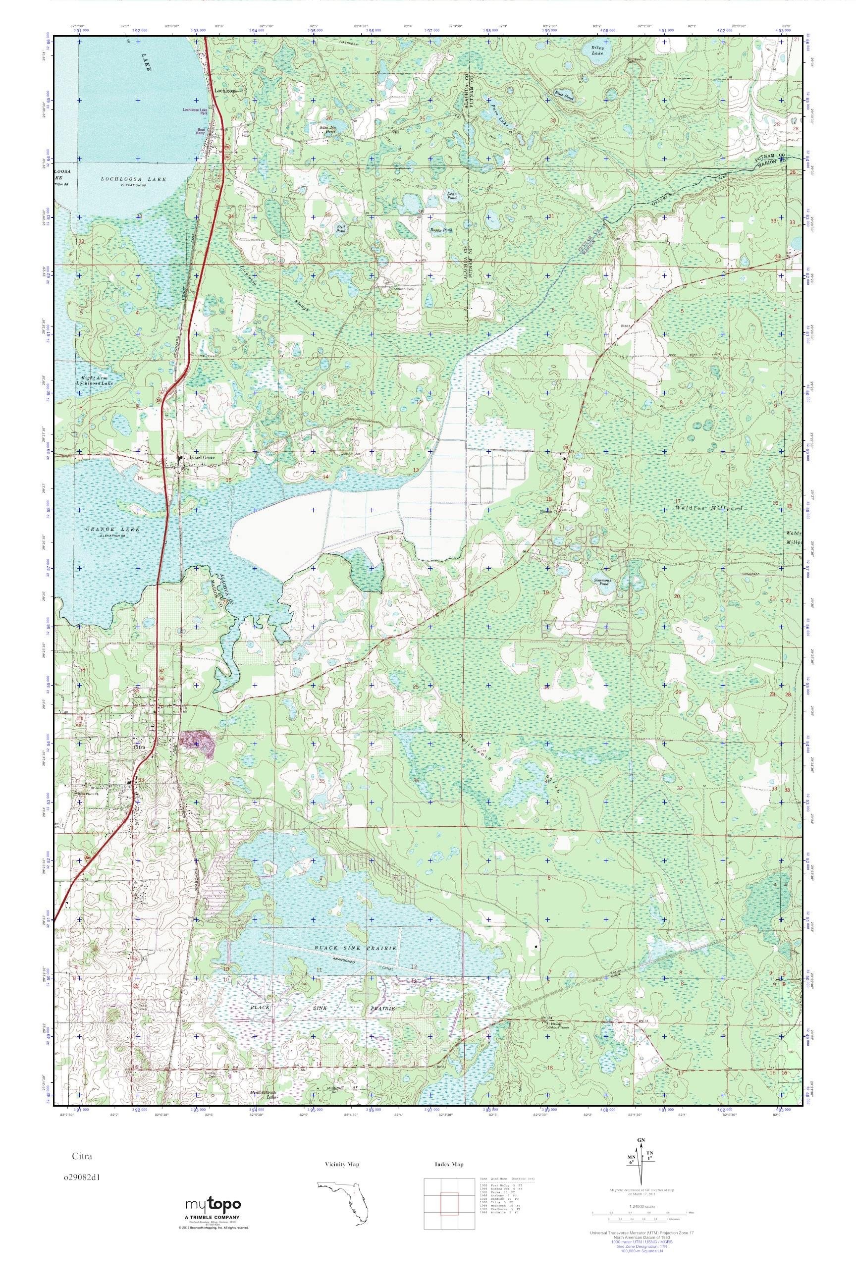 Mytopo Citra Florida Usgs Quad Topo Map