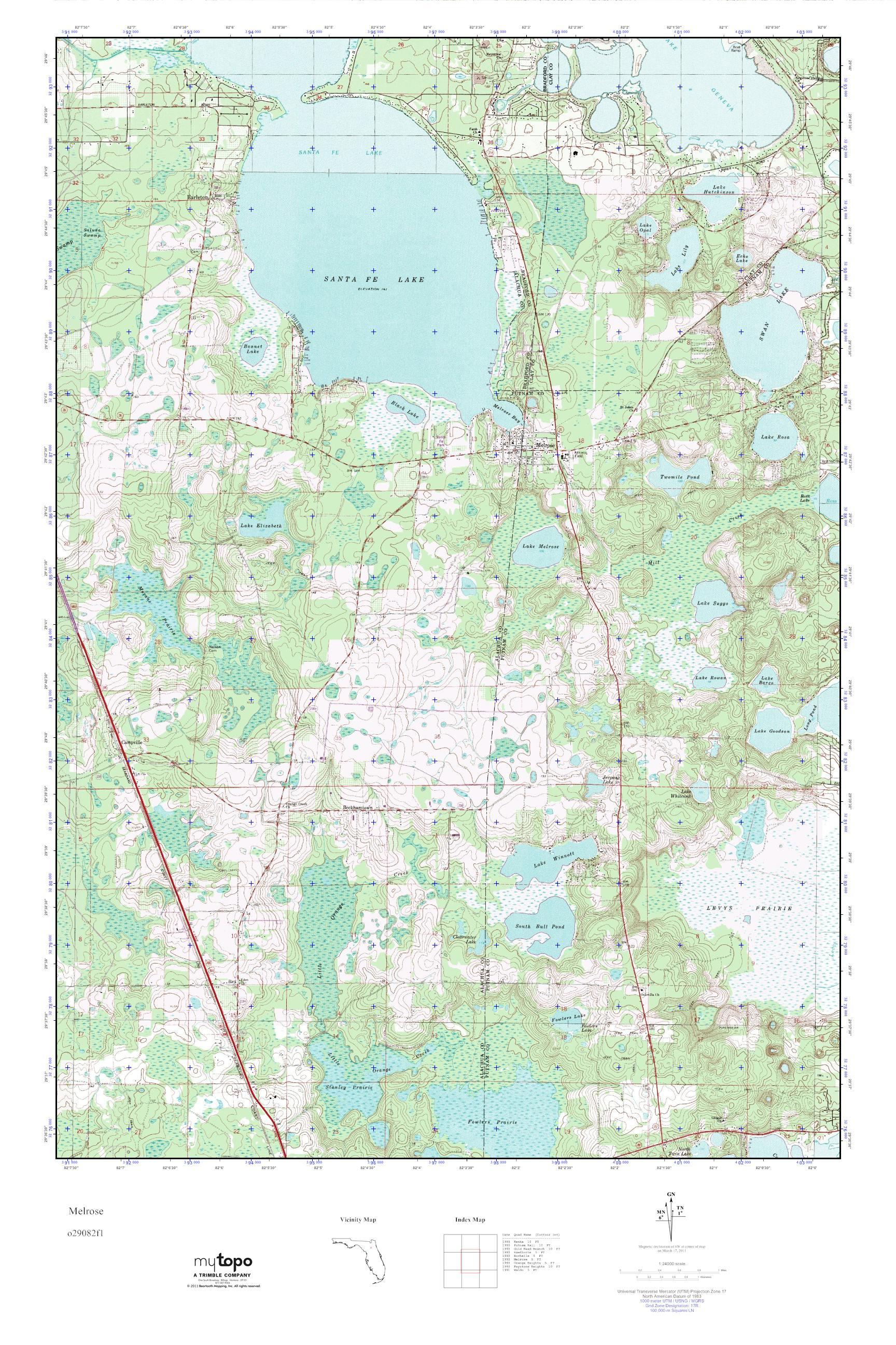 Melrose Florida Map.Mytopo Melrose Florida Usgs Quad Topo Map