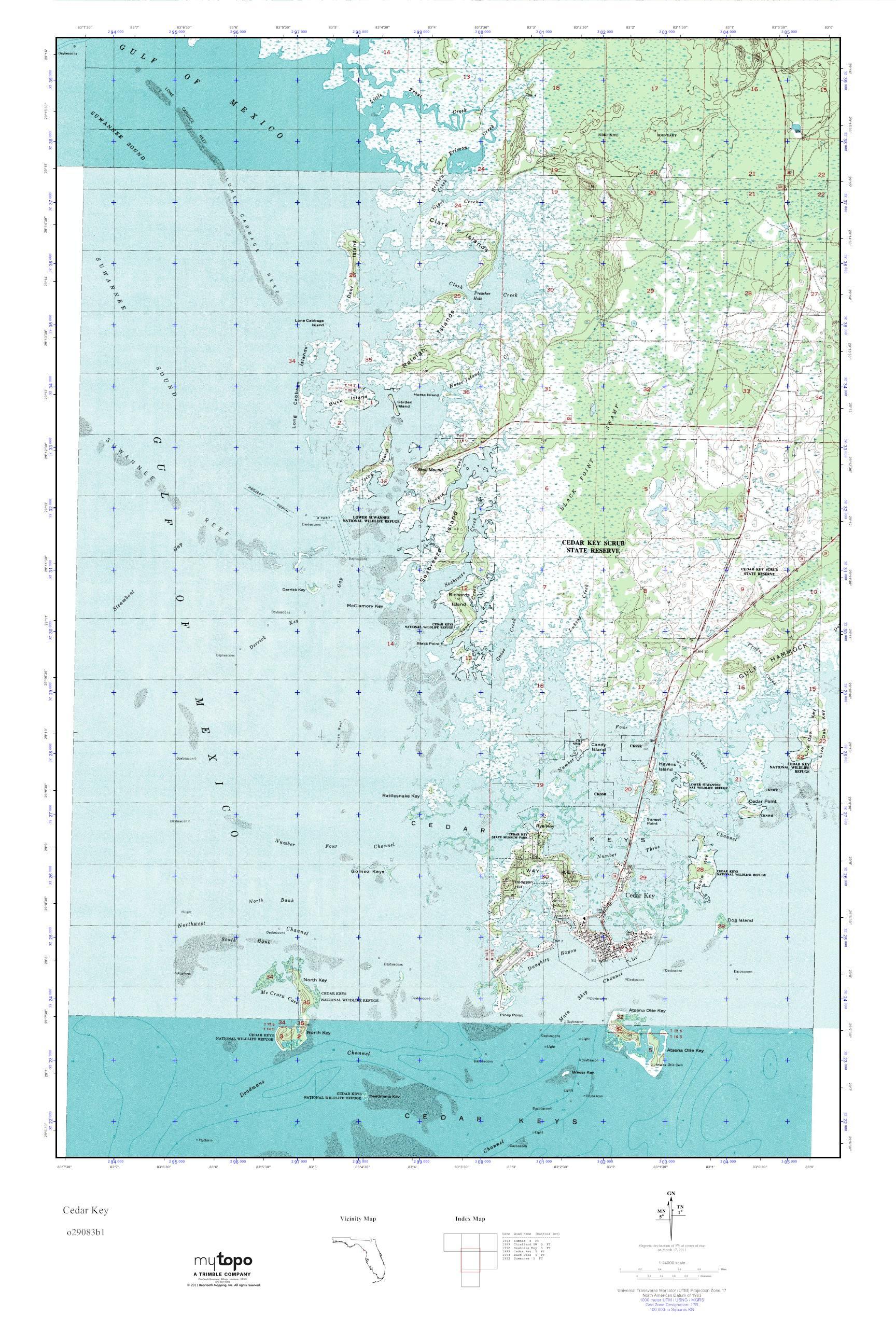 Cedar Key Florida Map.Mytopo Cedar Key Florida Usgs Quad Topo Map
