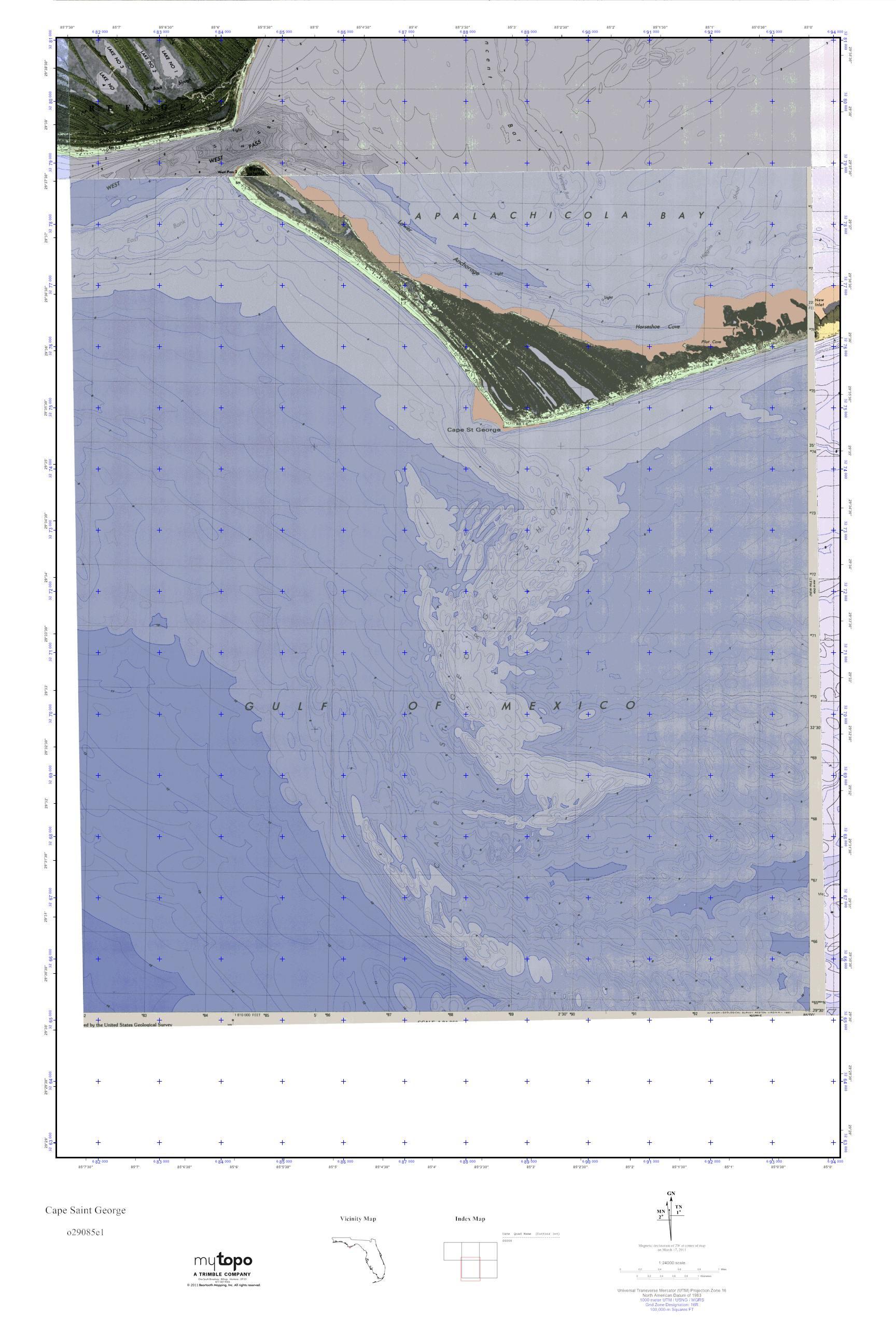 Saint George Florida Map.Mytopo Cape Saint George Florida Usgs Quad Topo Map