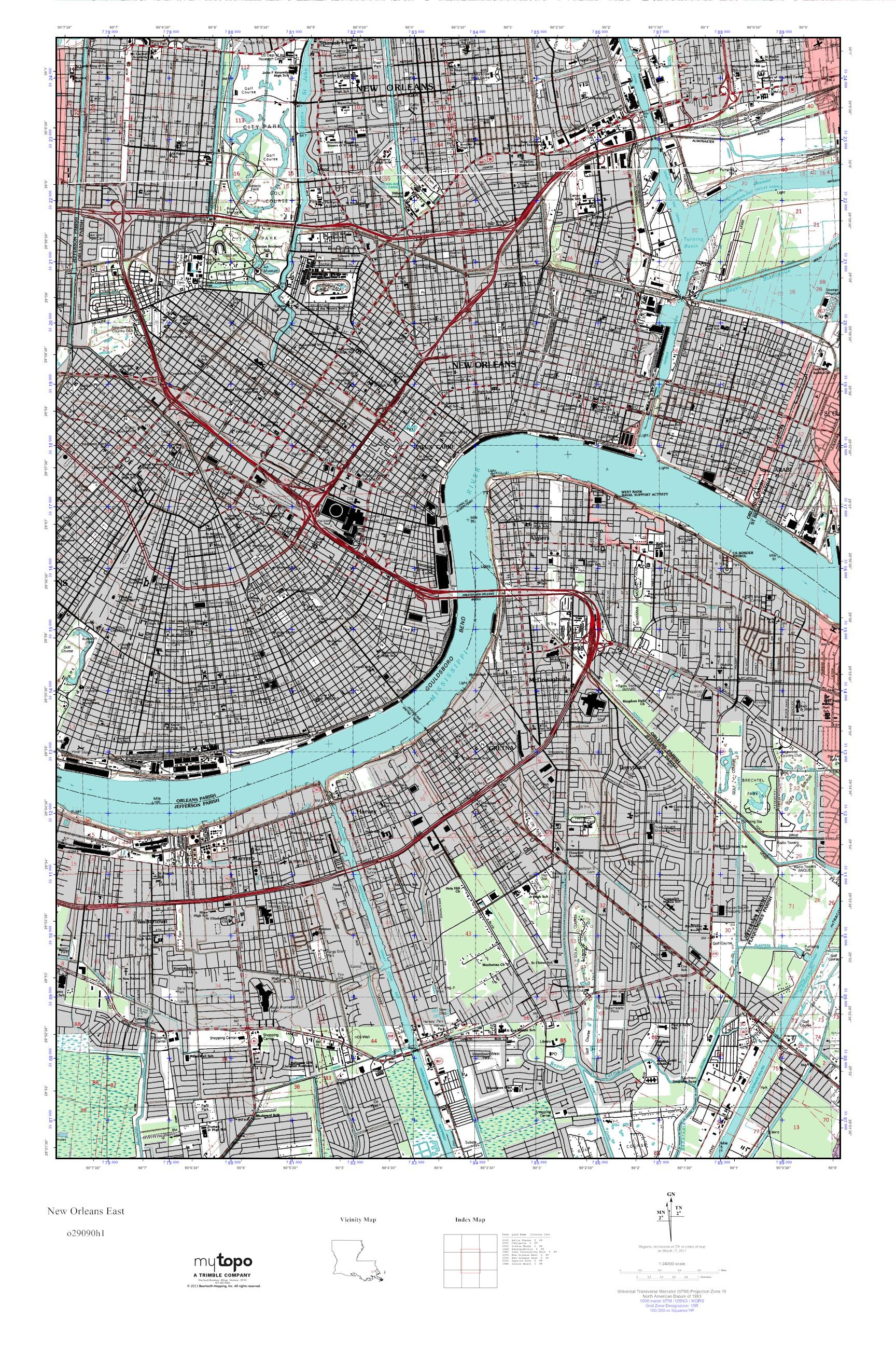 MyTopo New Orleans East, Louisiana USGS Quad Topo Map