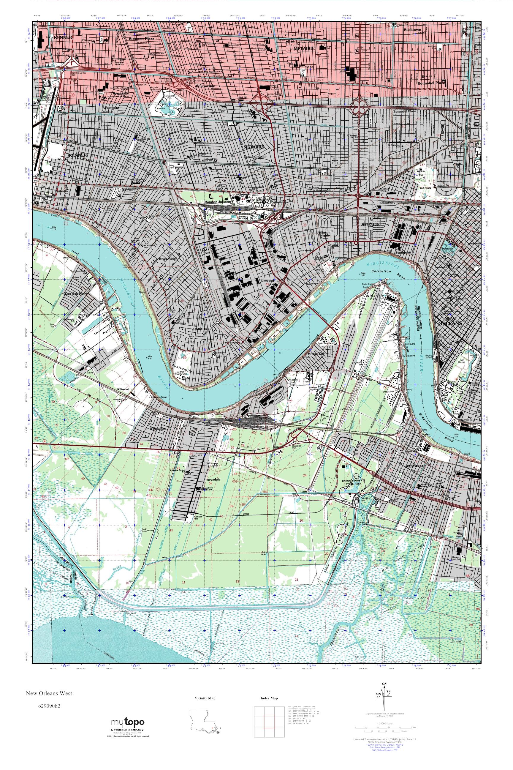 Mytopo New Orleans West Louisiana Usgs Quad Topo Map
