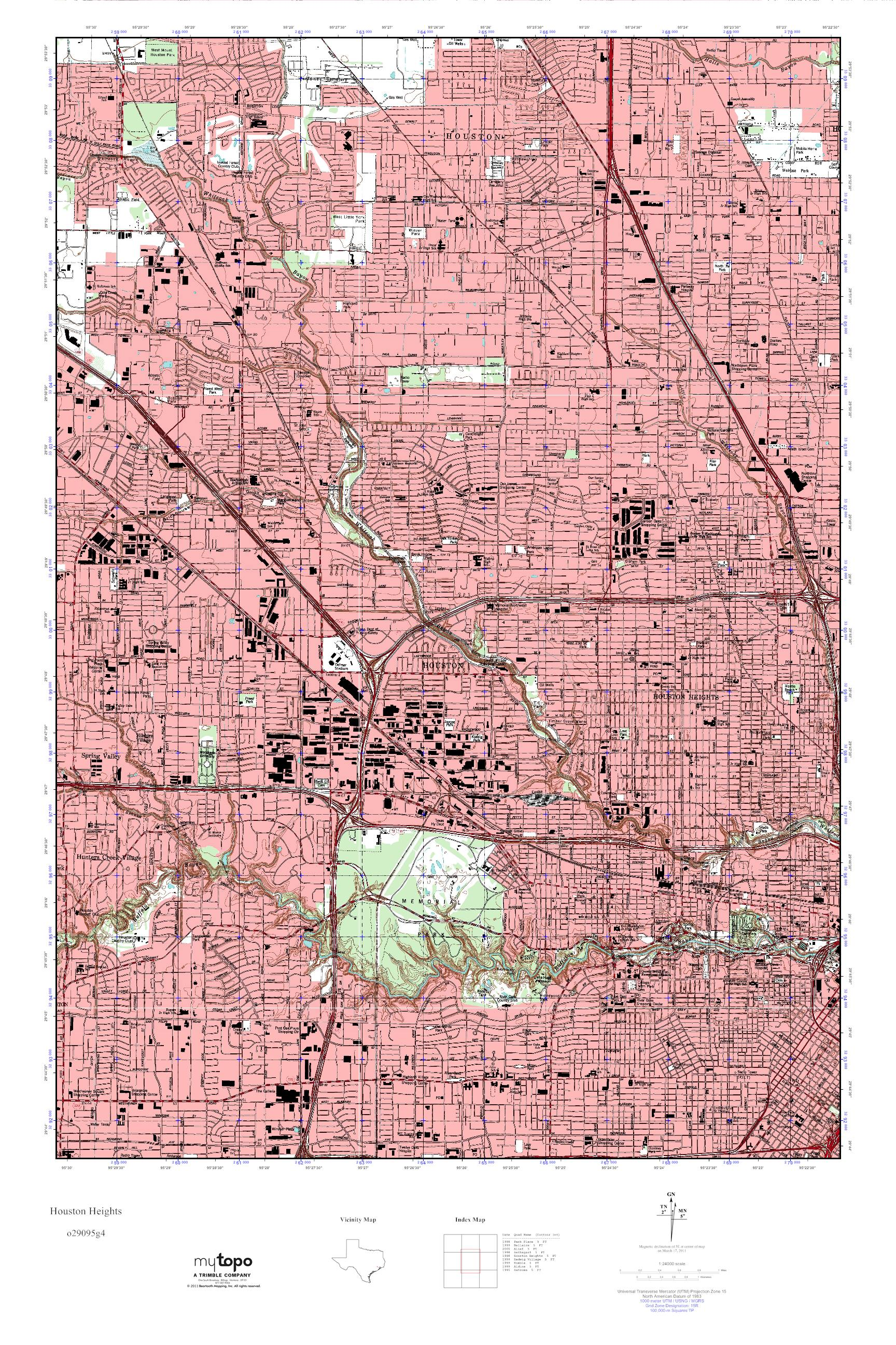 Mytopo Houston Heights Texas Usgs Quad Topo Map