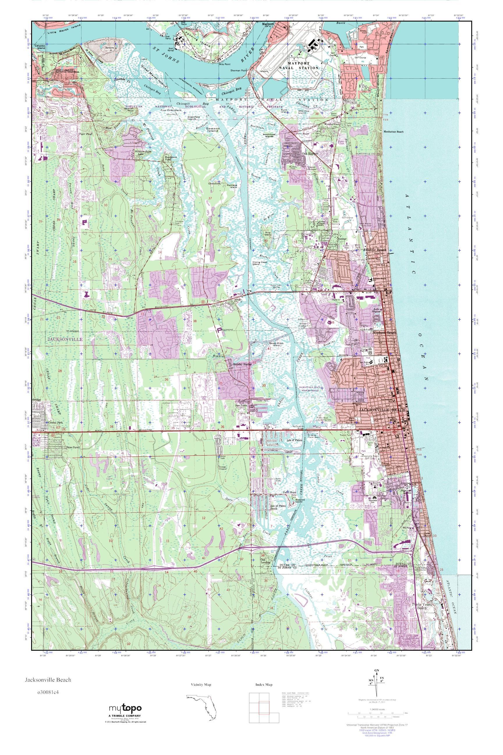 MyTopo Jacksonville Beach Florida USGS Quad Topo Map - Florida quad map