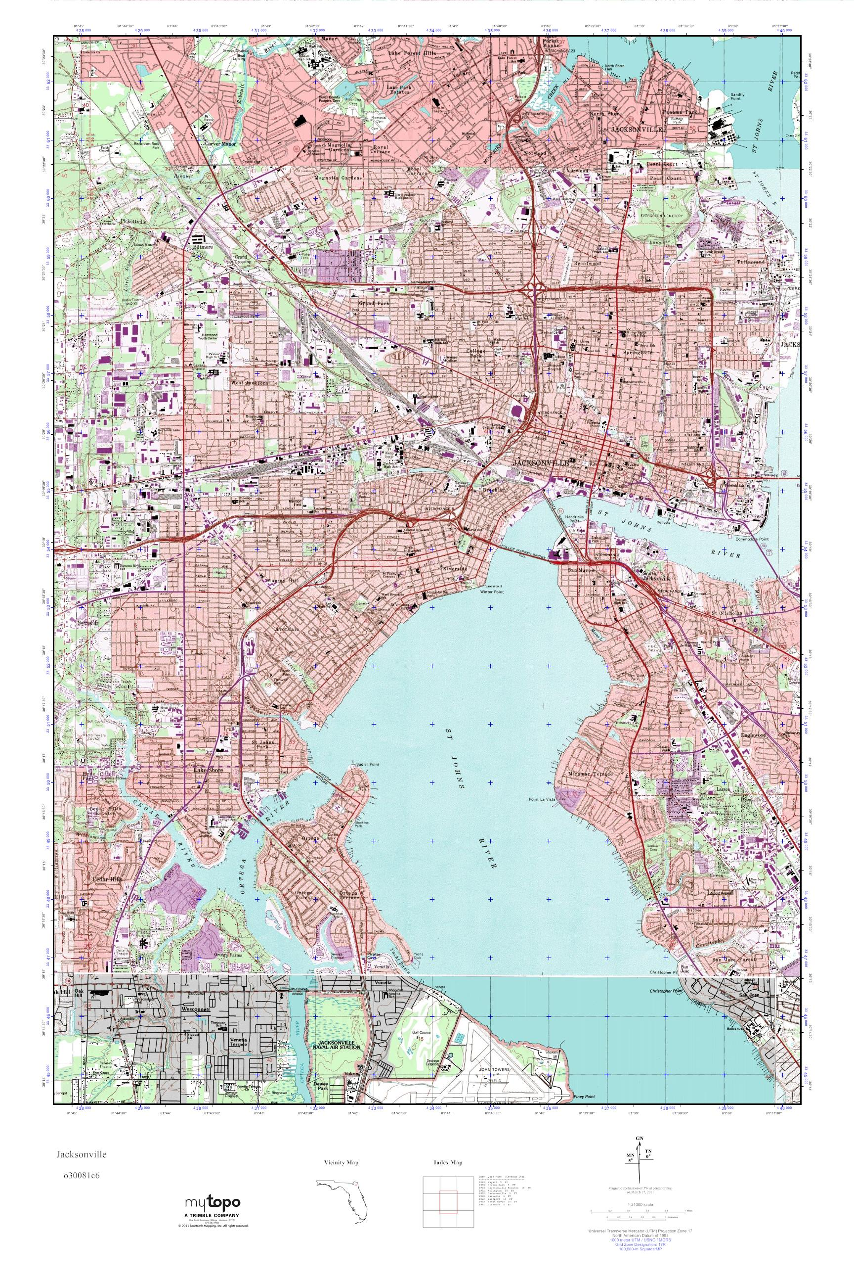 MyTopo Jacksonville Florida USGS Quad Topo Map - Topographical map of florida