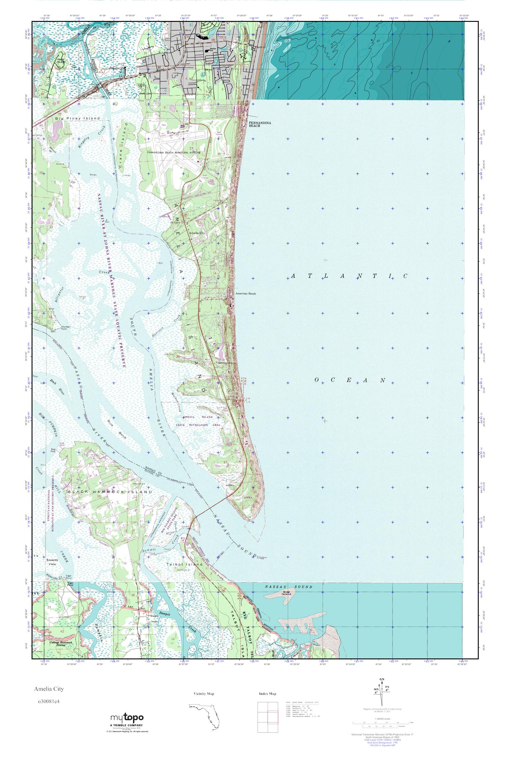 Amelia City Florida Map.Mytopo Amelia City Florida Usgs Quad Topo Map