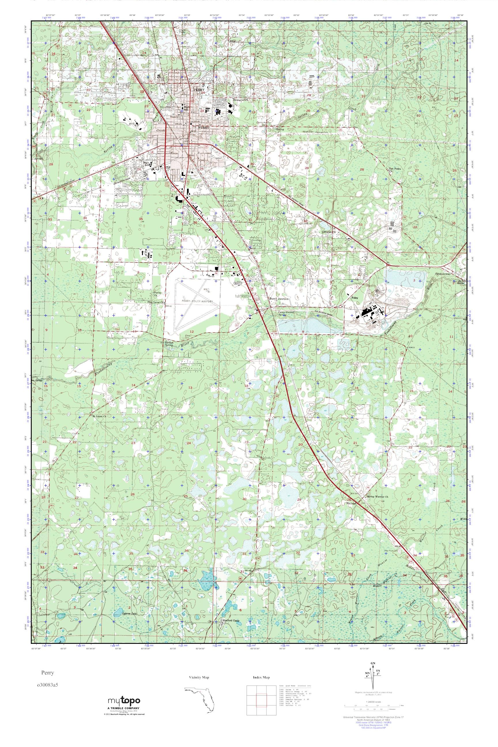 Mytopo Perry Florida Usgs Quad Topo Map
