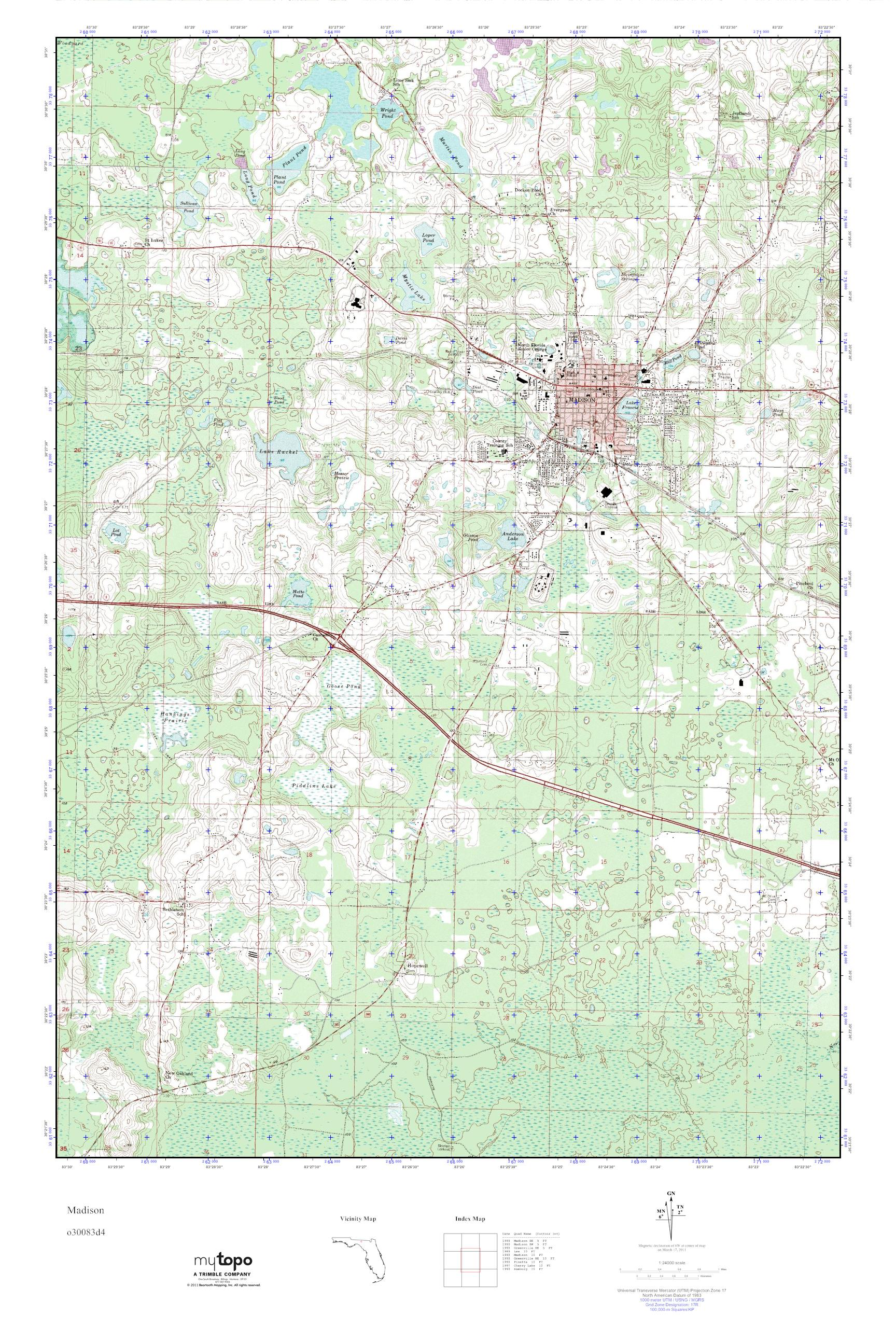 Madison Florida Map.Mytopo Madison Florida Usgs Quad Topo Map