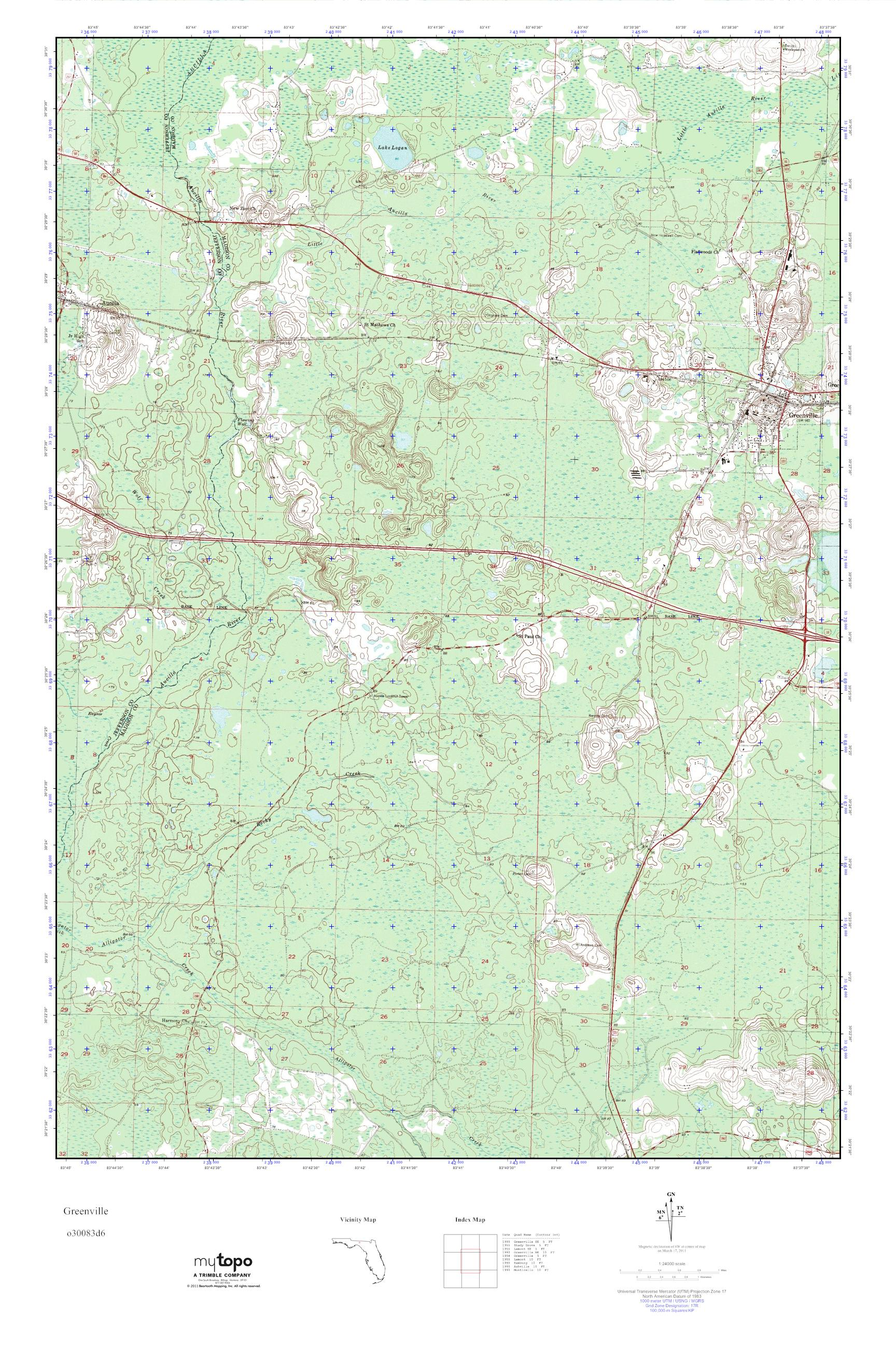 Greenville Florida Map.Mytopo Greenville Florida Usgs Quad Topo Map