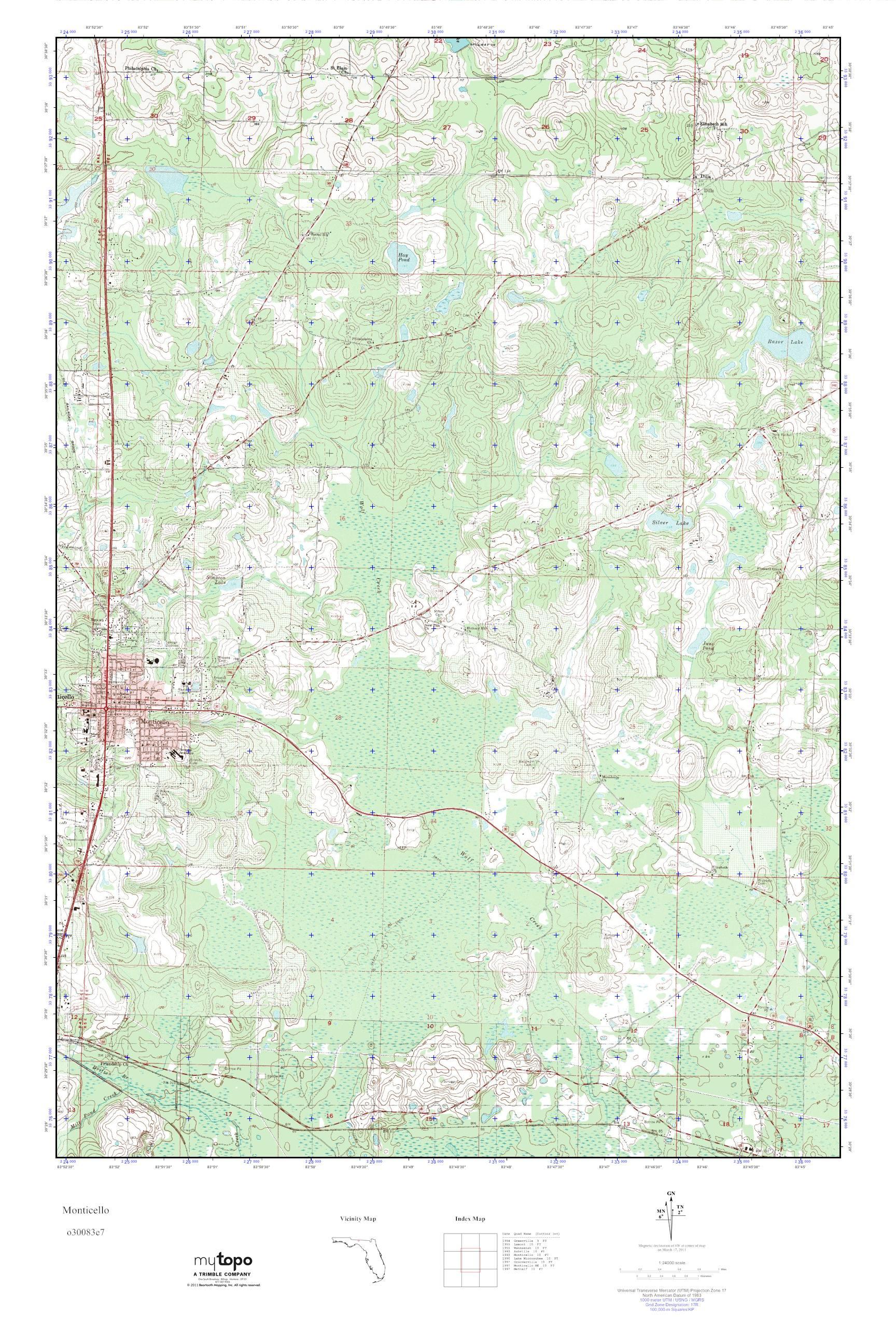 Mytopo Monticello Florida Usgs Quad Topo Map