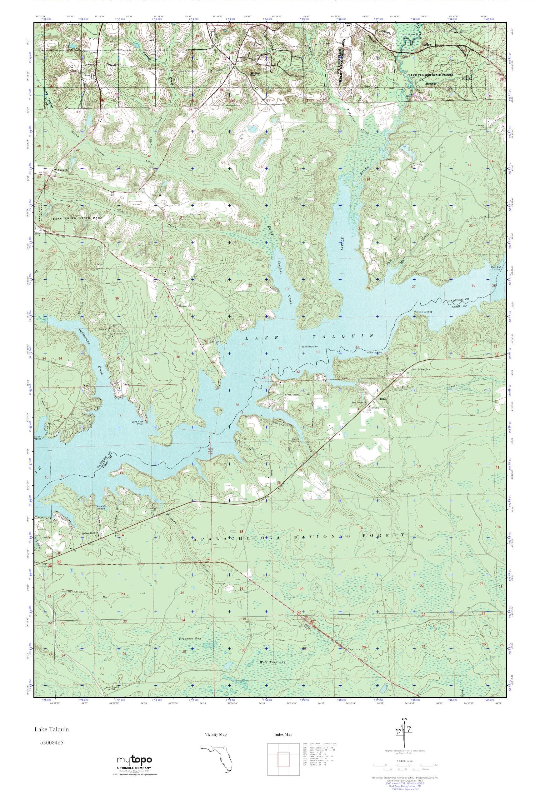 Topo Map Florida.Mytopo Lake Talquin Florida Usgs Quad Topo Map