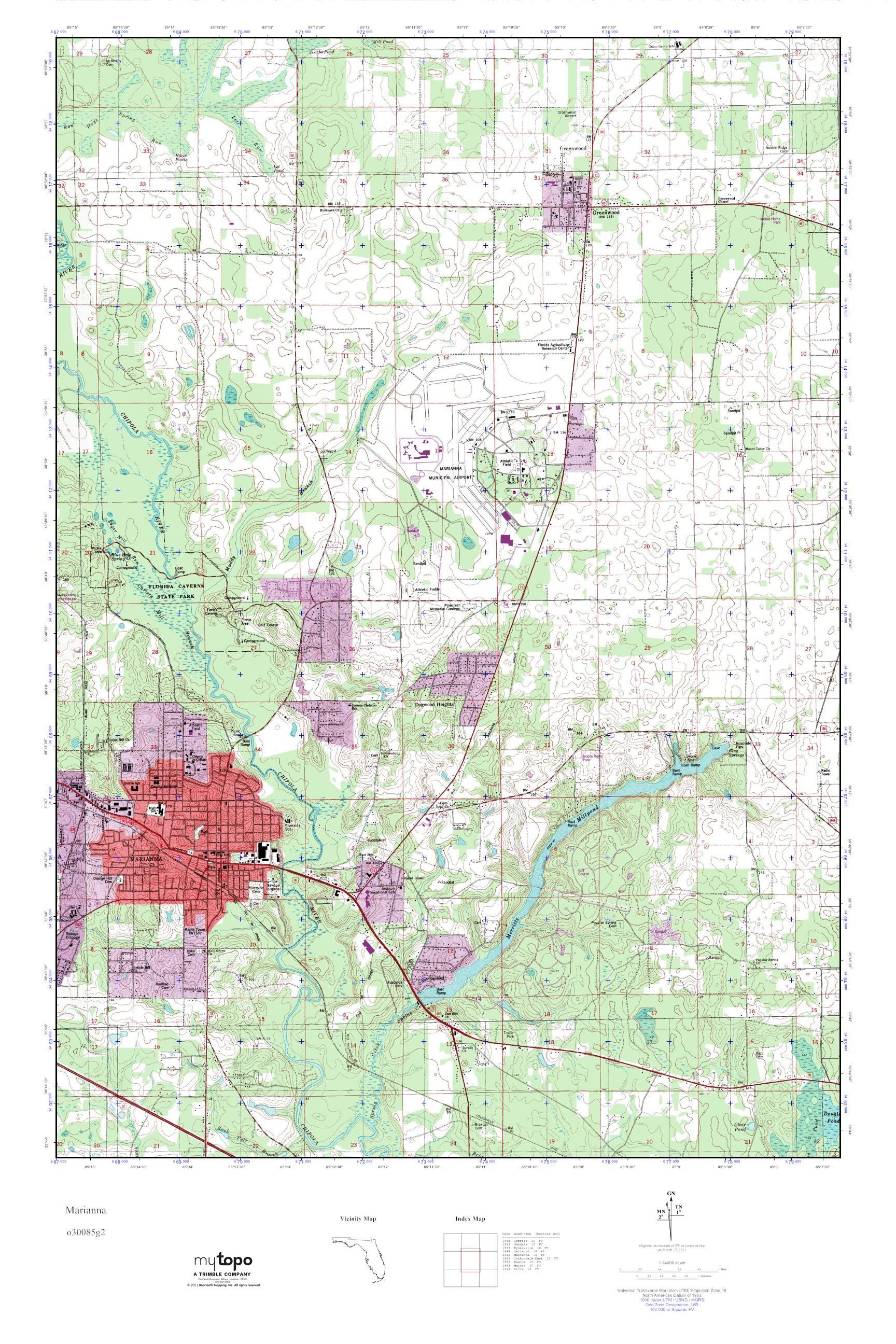 Mytopo Marianna Florida Usgs Quad Topo Map