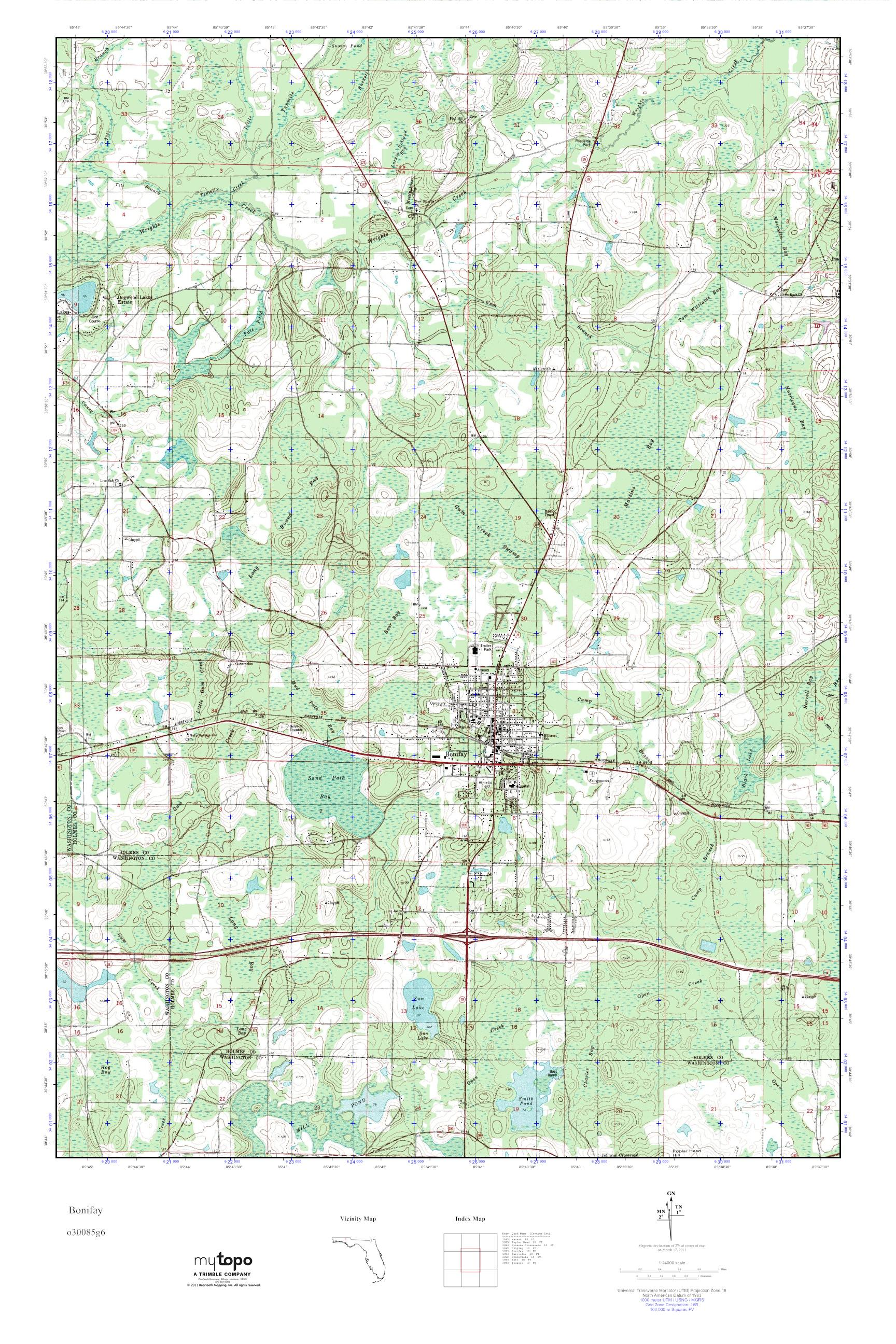 Mytopo Bonifay Florida Usgs Quad Topo Map