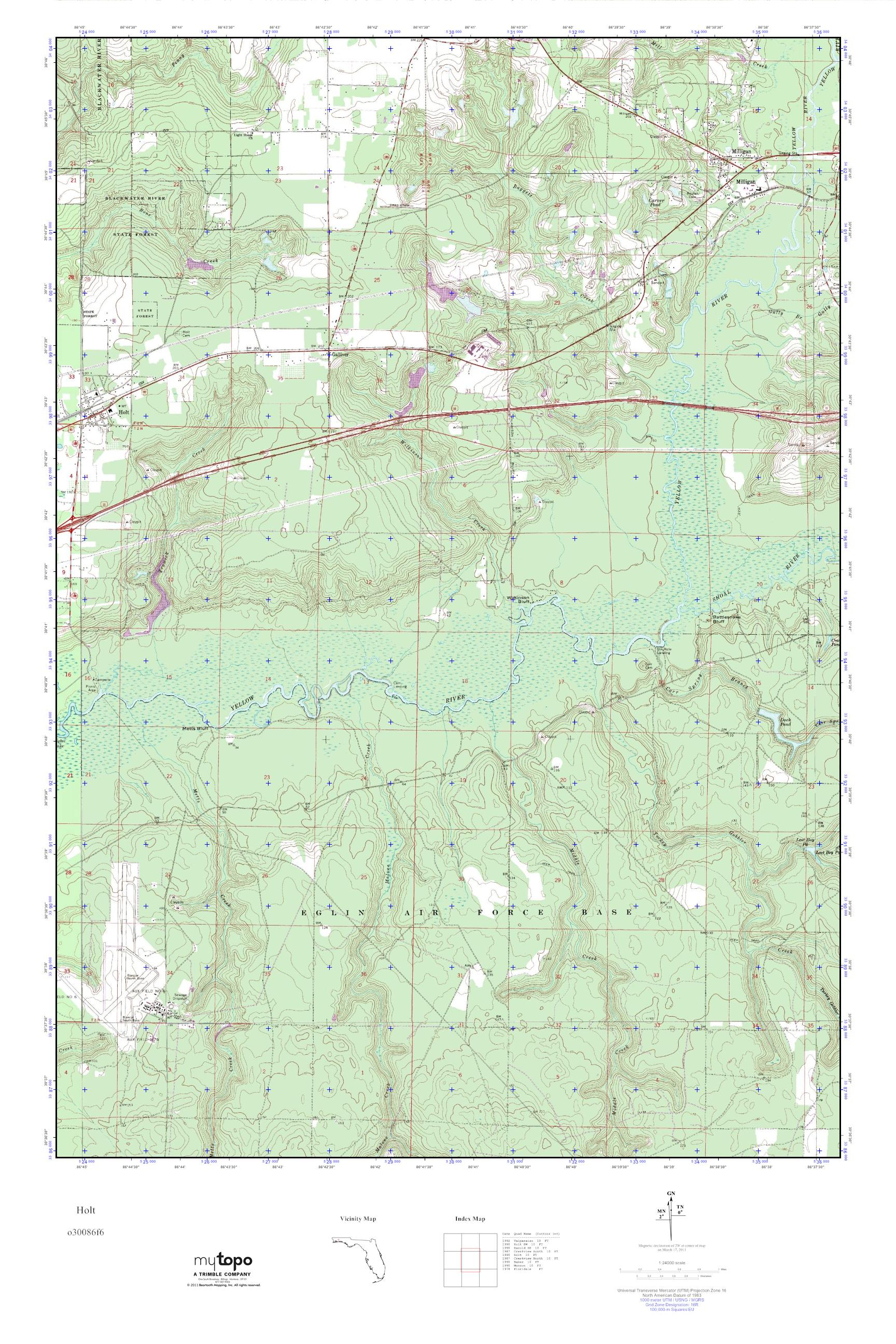 Holt Florida Map.Mytopo Holt Florida Usgs Quad Topo Map