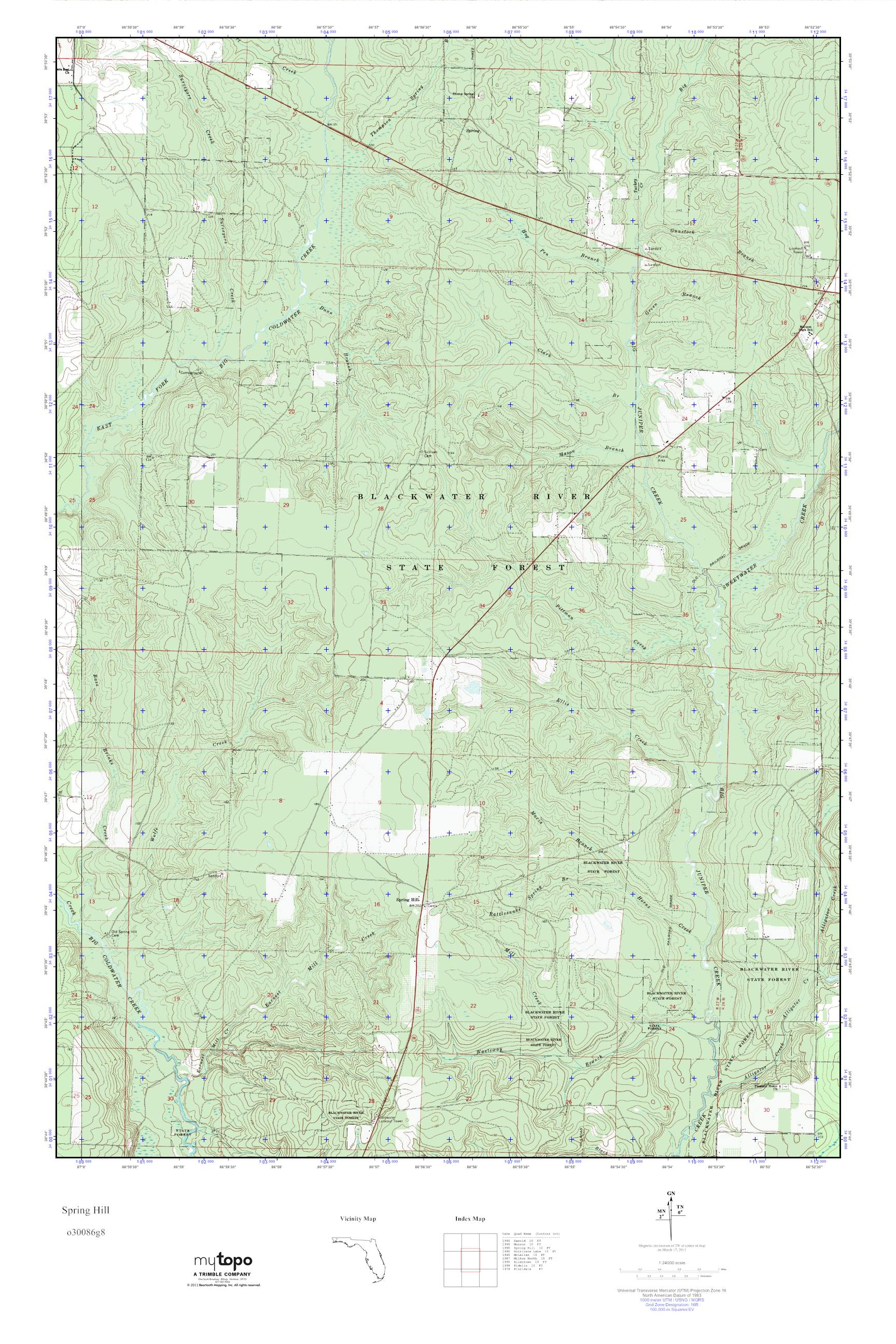 Map Of Spring Hill Florida.Mytopo Spring Hill Florida Usgs Quad Topo Map