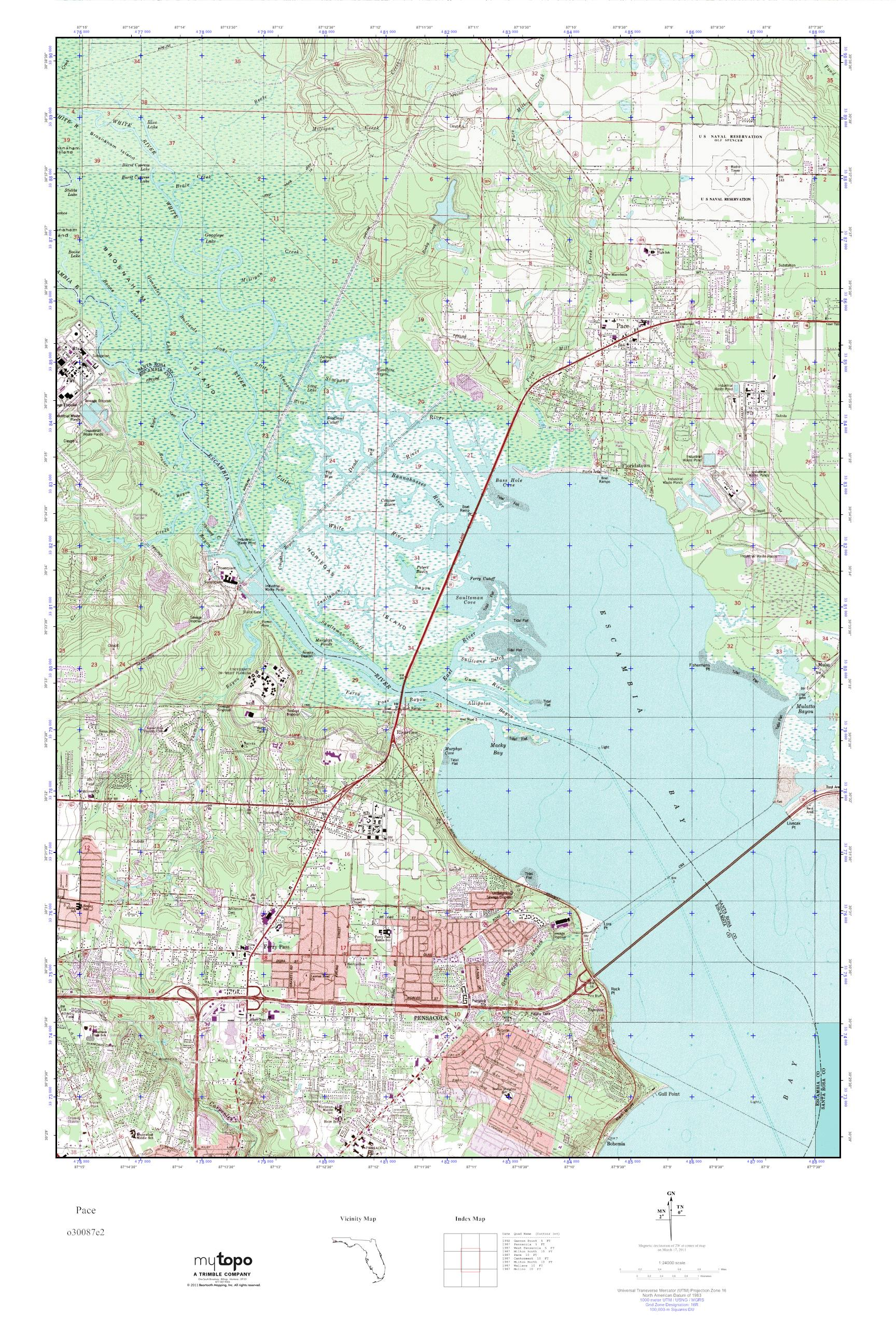 Pace Florida Map.Mytopo Pace Florida Usgs Quad Topo Map