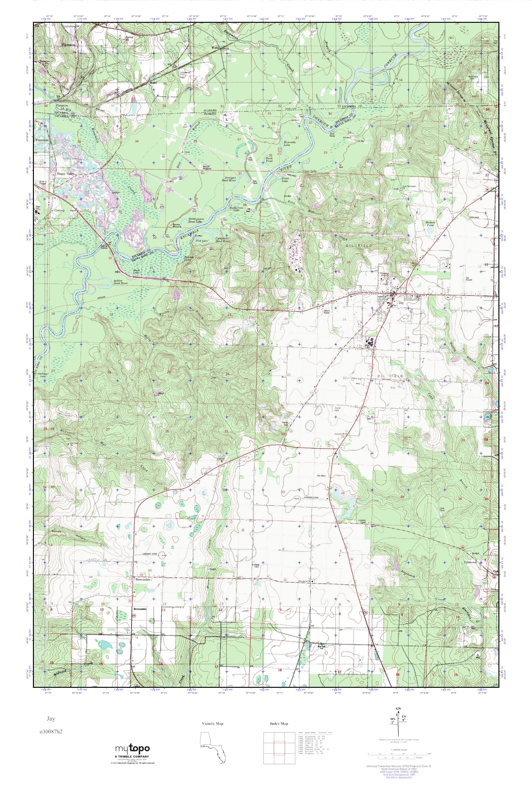 Mytopo Jay Florida Usgs Quad Topo Map