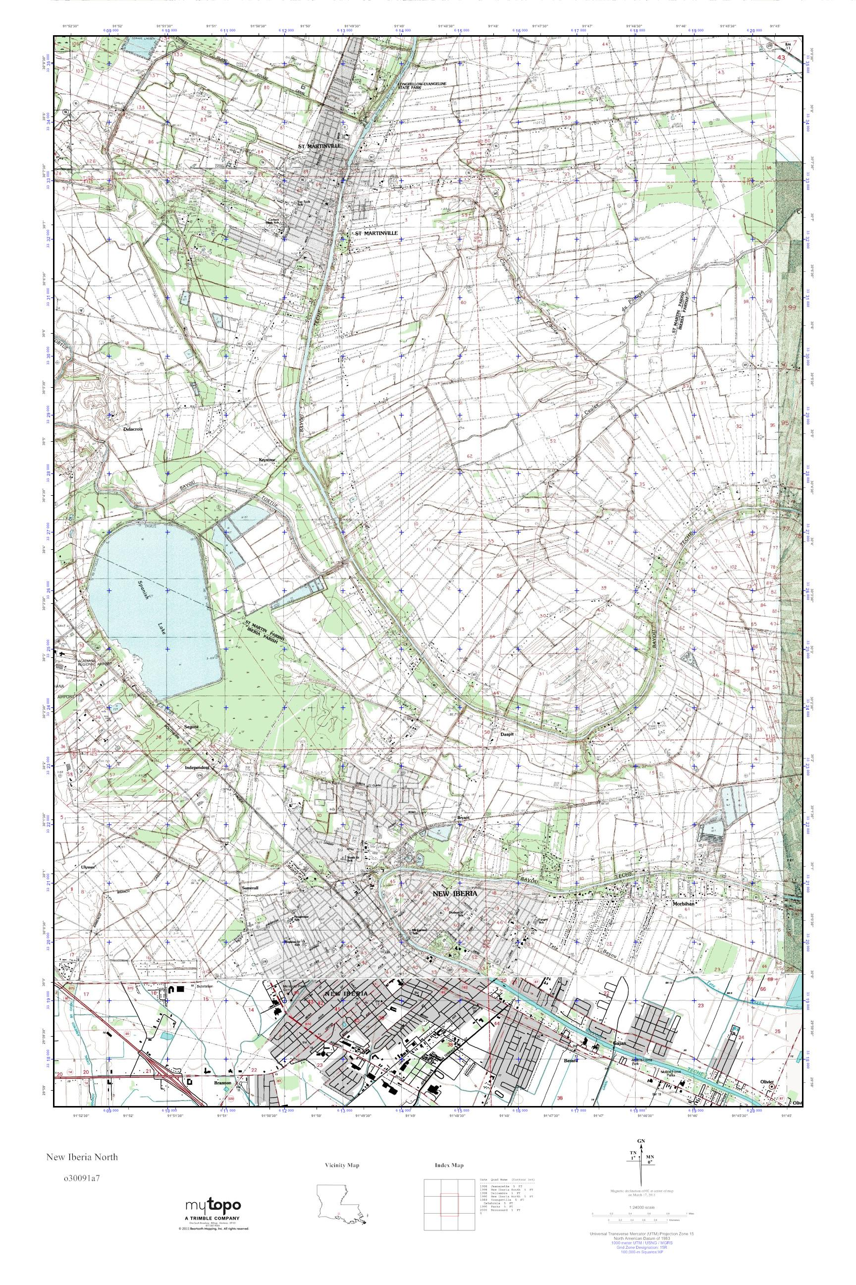 MyTopo New Iberia North Louisiana USGS Quad Topo Map
