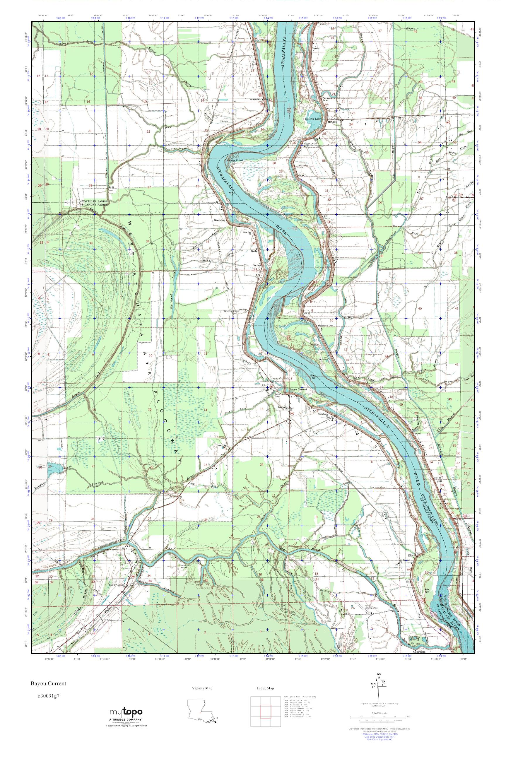 Current Map Of Louisiana.Mytopo Bayou Current Louisiana Usgs Quad Topo Map