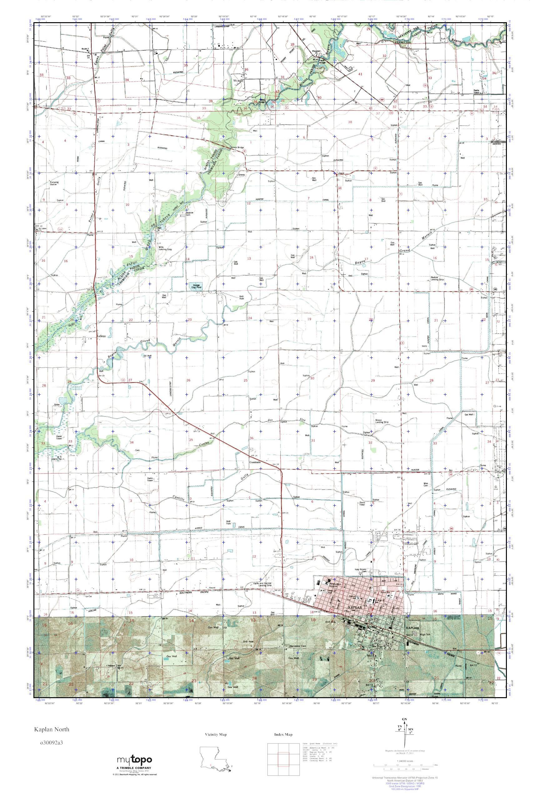 North Louisiana Map.Mytopo Kaplan North Louisiana Usgs Quad Topo Map
