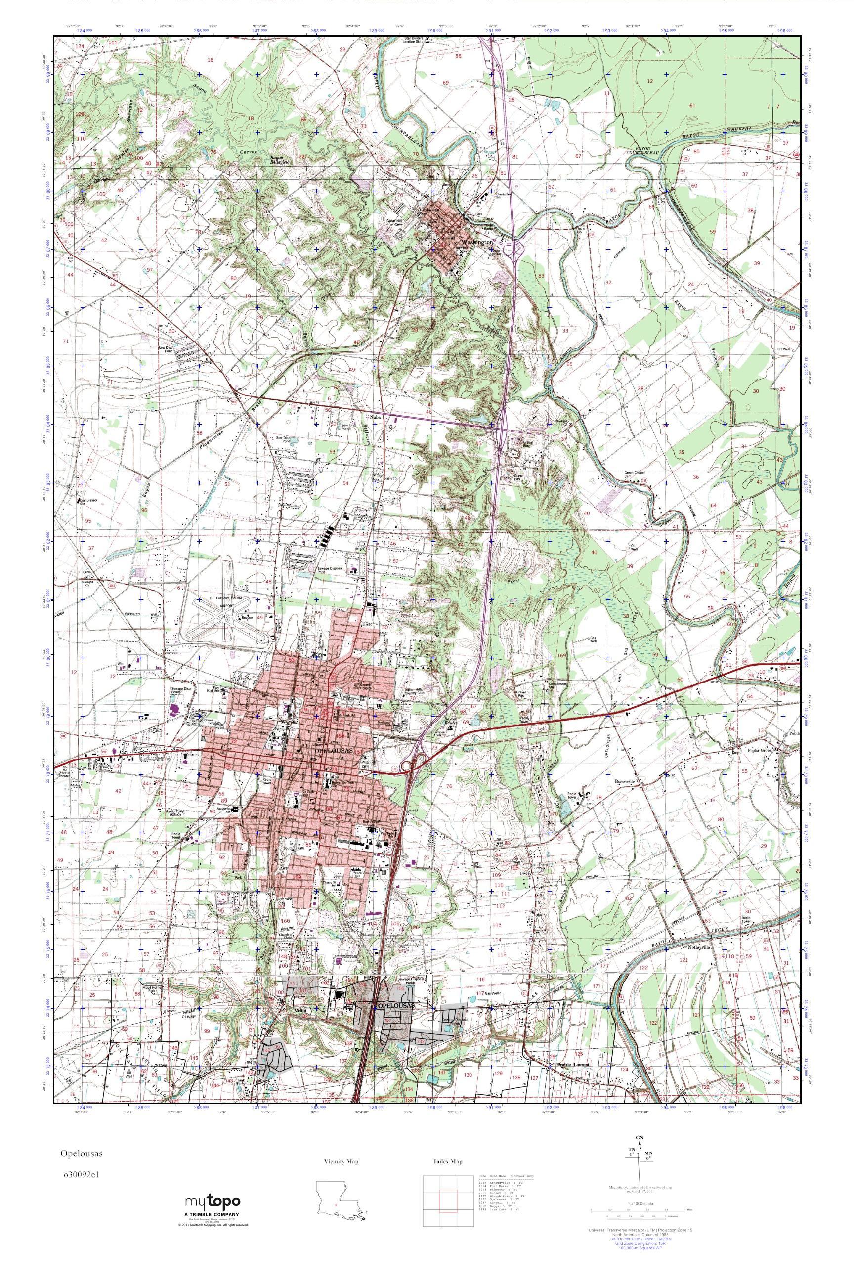 Opelousas Louisiana Map.Mytopo Opelousas Louisiana Usgs Quad Topo Map