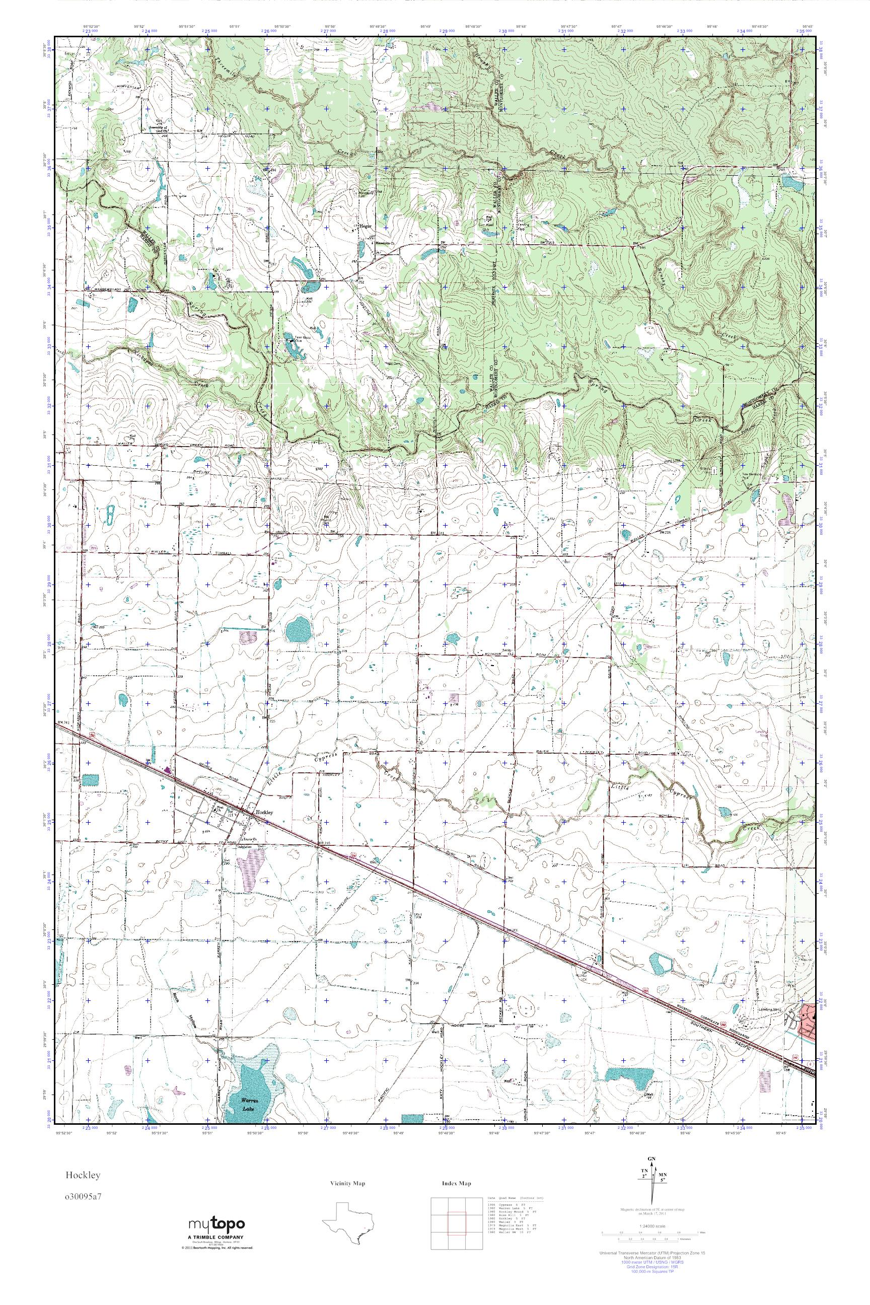 MyTopo Hockley, Texas USGS Quad Topo Map