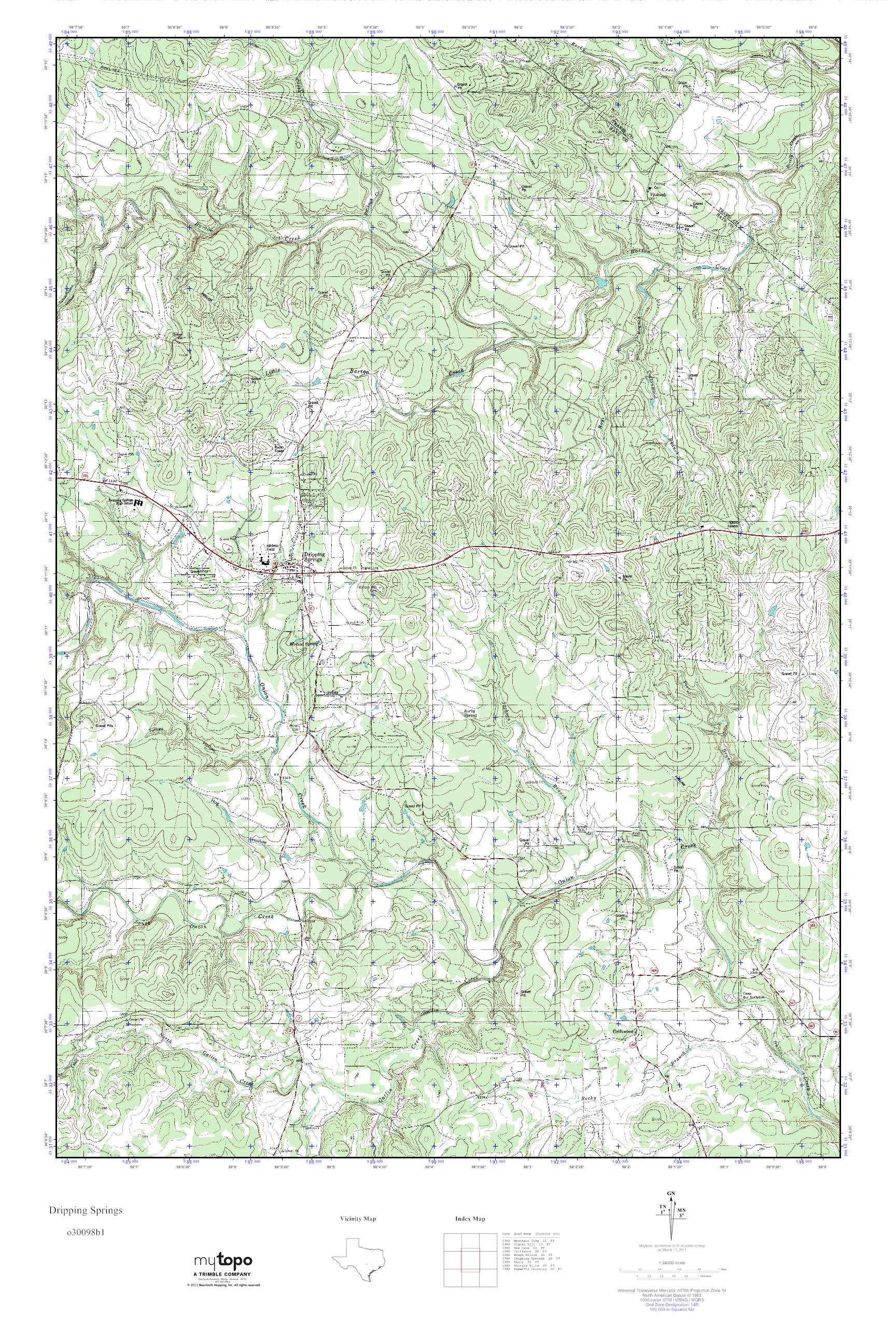 MyTopo Dripping Springs, Texas USGS Quad Topo Map on