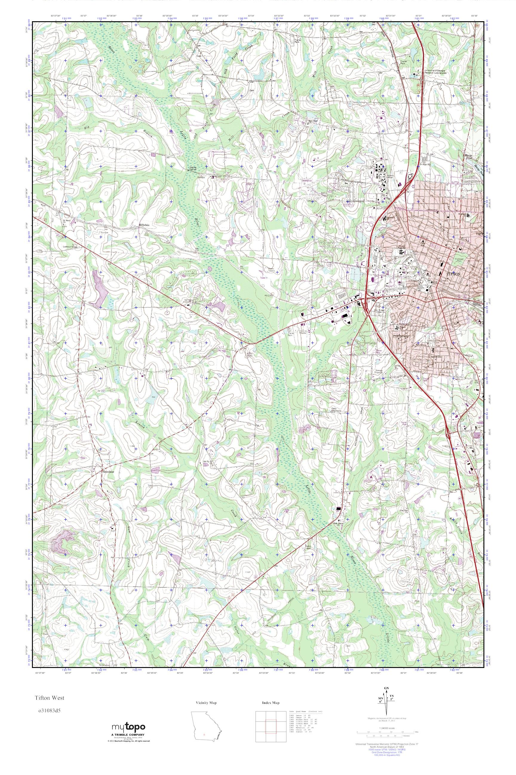 Mytopo Tifton West Georgia Usgs Quad Topo Map