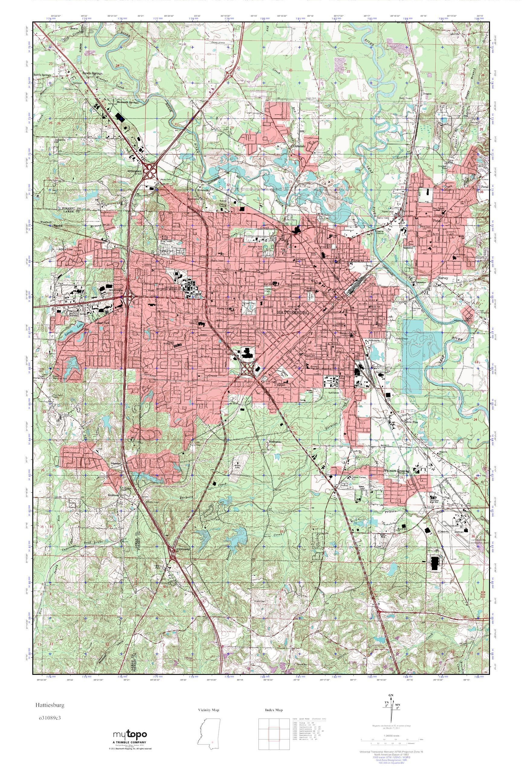 MyTopo Hattiesburg, Mississippi USGS Quad Topo Map