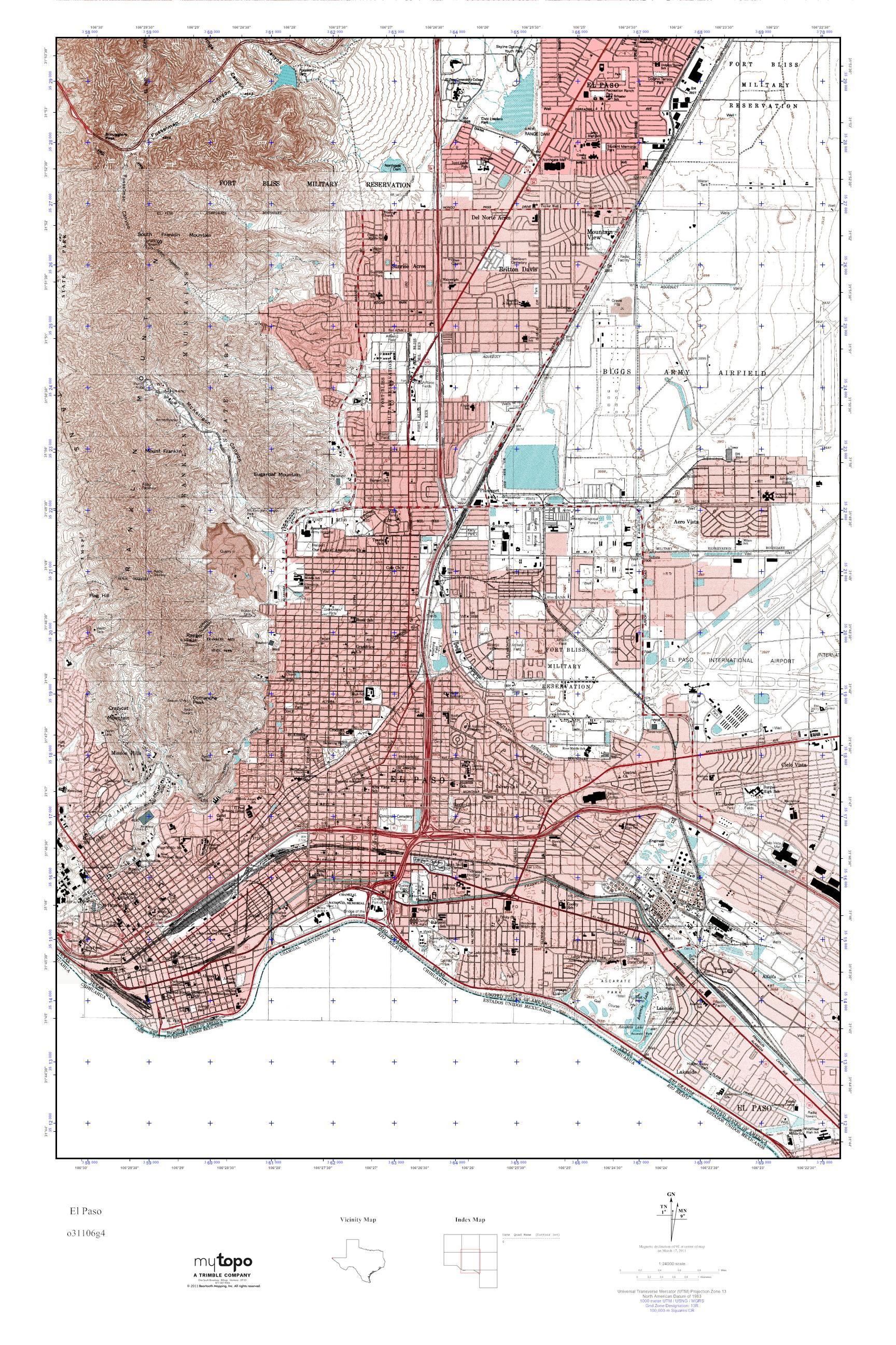 MyTopo El Paso Texas USGS Quad Topo Map