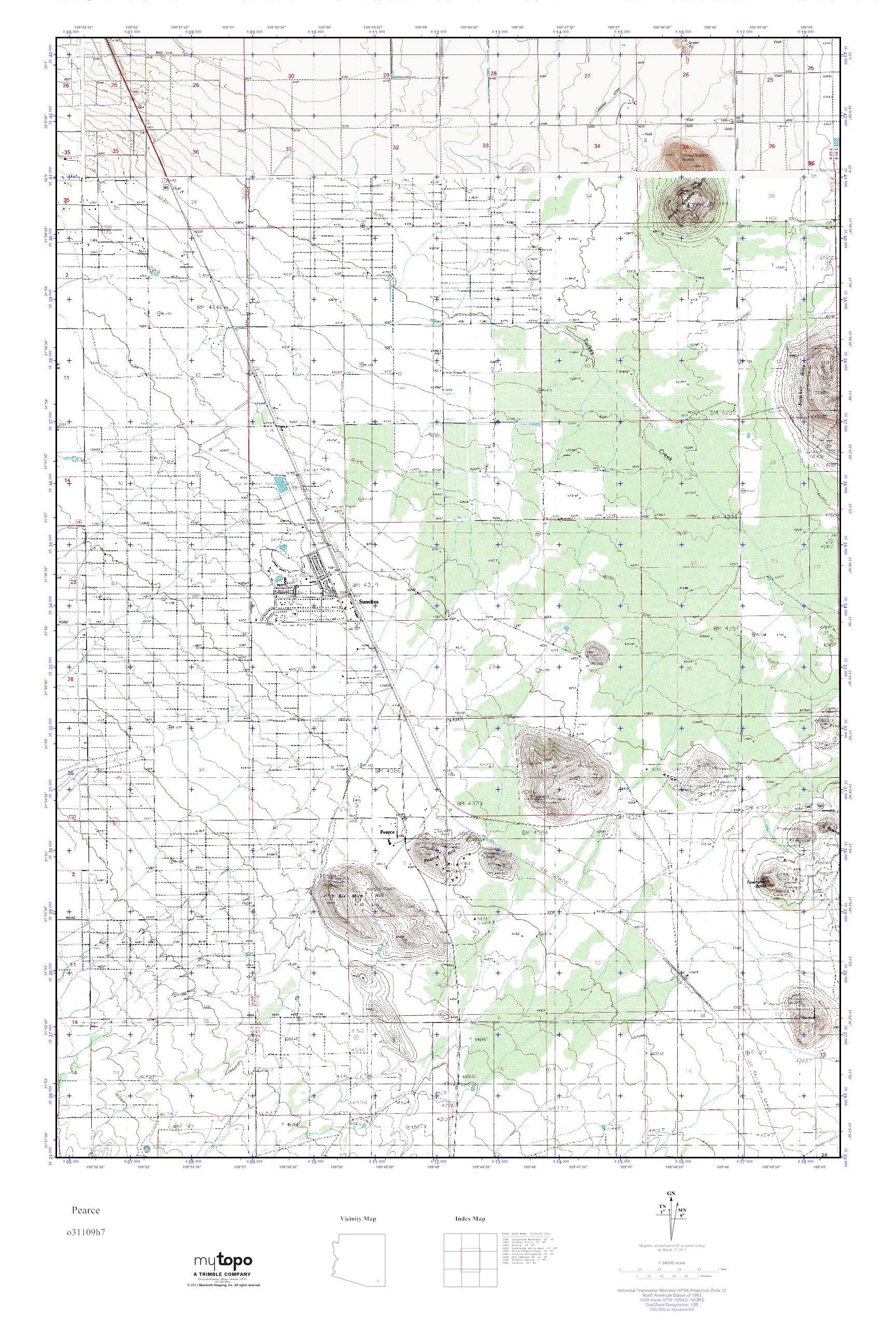 Pearce Arizona Map.Mytopo Pearce Arizona Usgs Quad Topo Map
