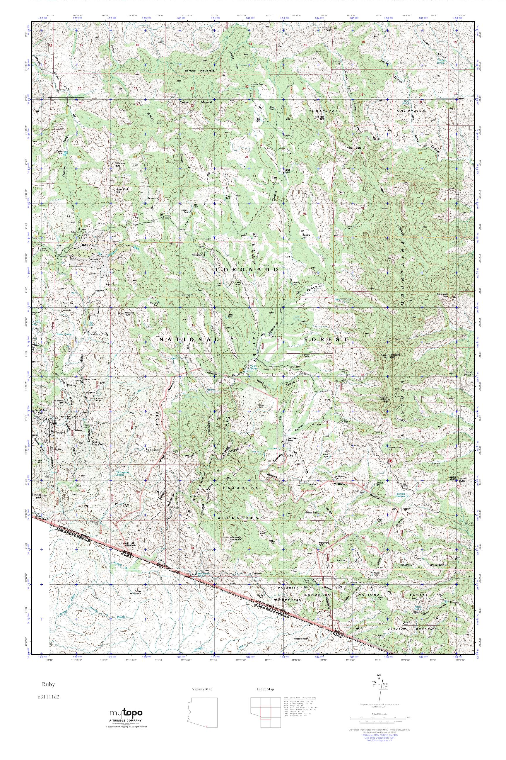 Ruby Arizona Map.Mytopo Ruby Arizona Usgs Quad Topo Map