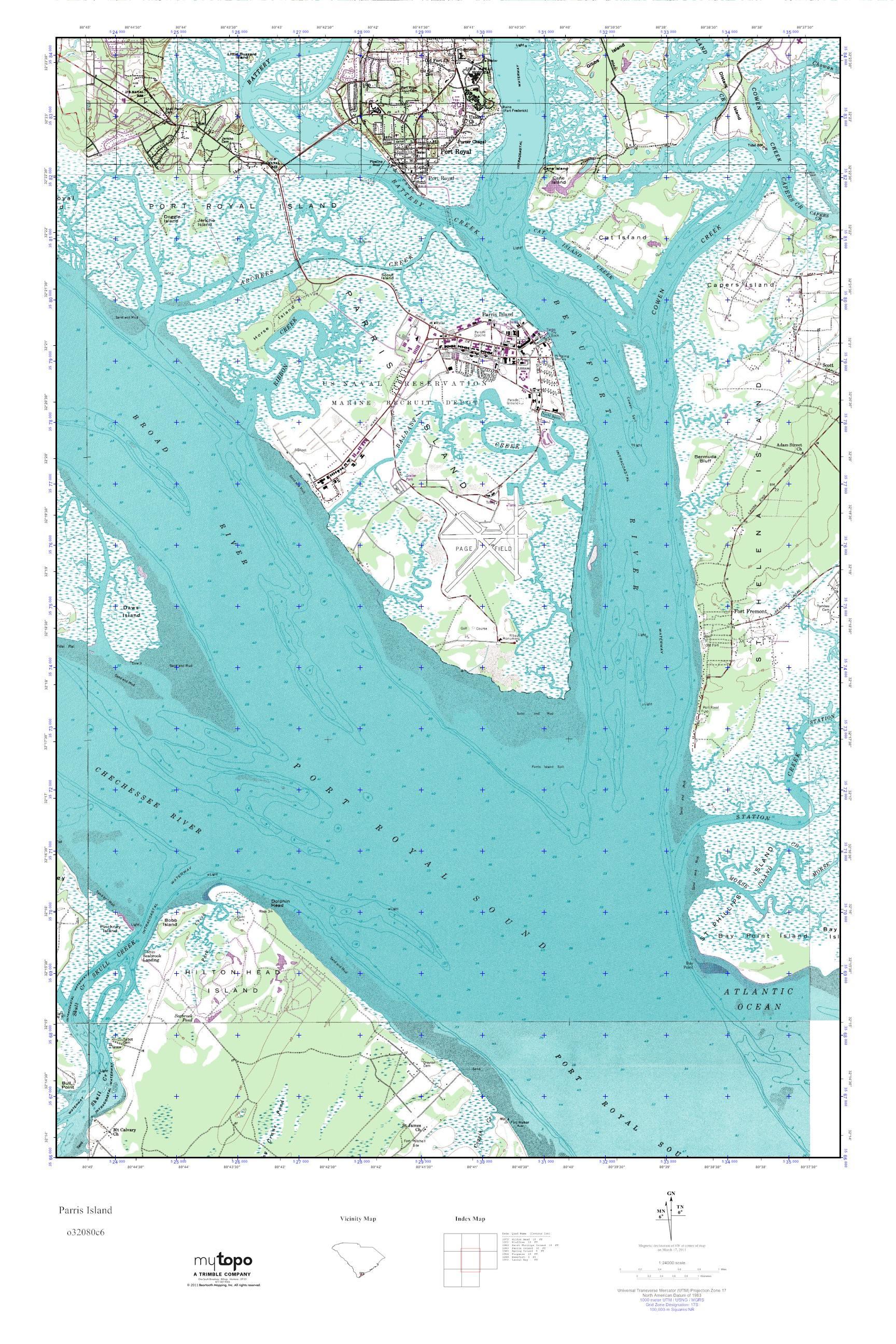 MyTopo Parris Island South Carolina USGS Quad Topo Map - Parris map