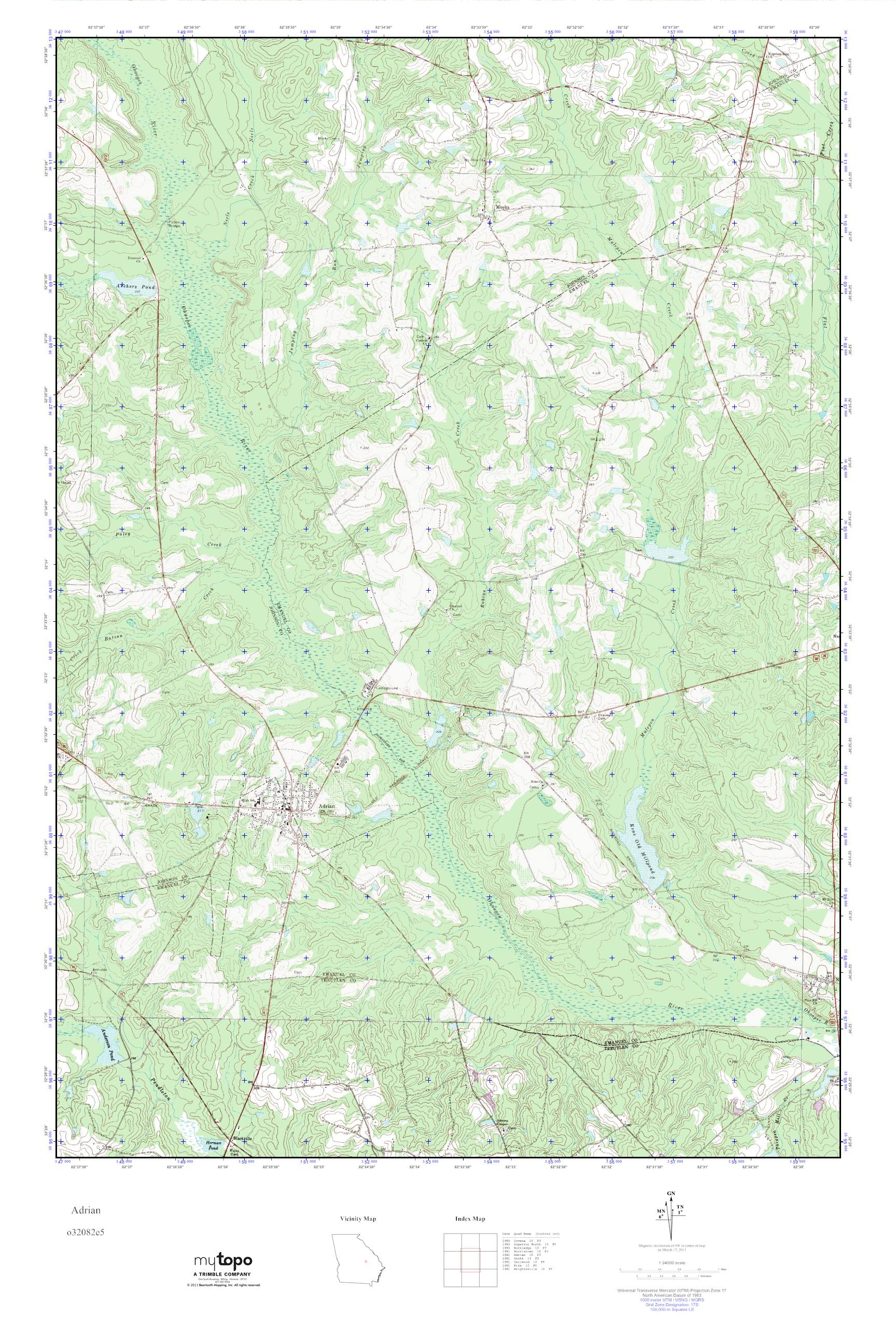 MyTopo Adrian, Georgia USGS Quad Topo Map