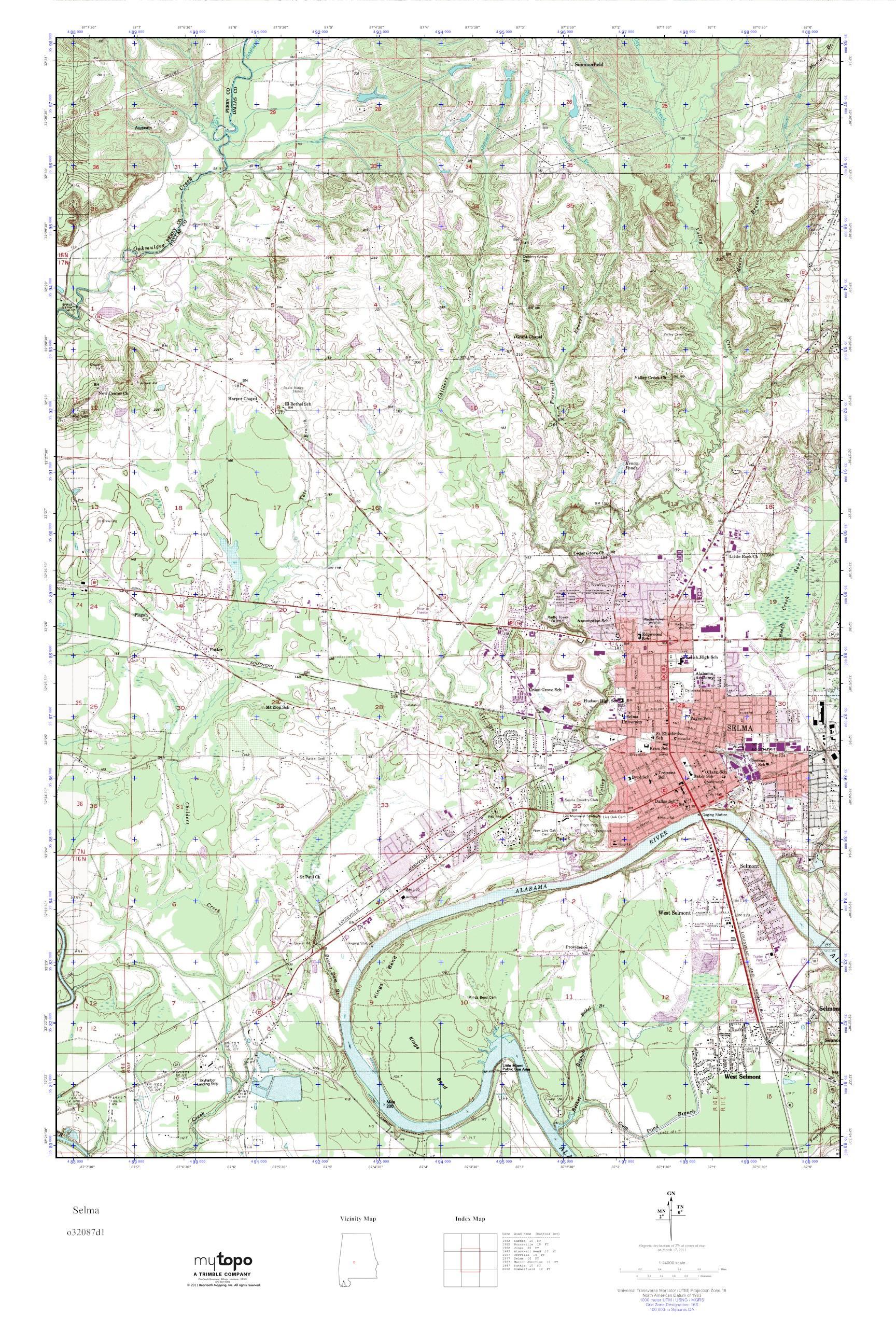 MyTopo Selma, Alabama USGS Quad Topo Map