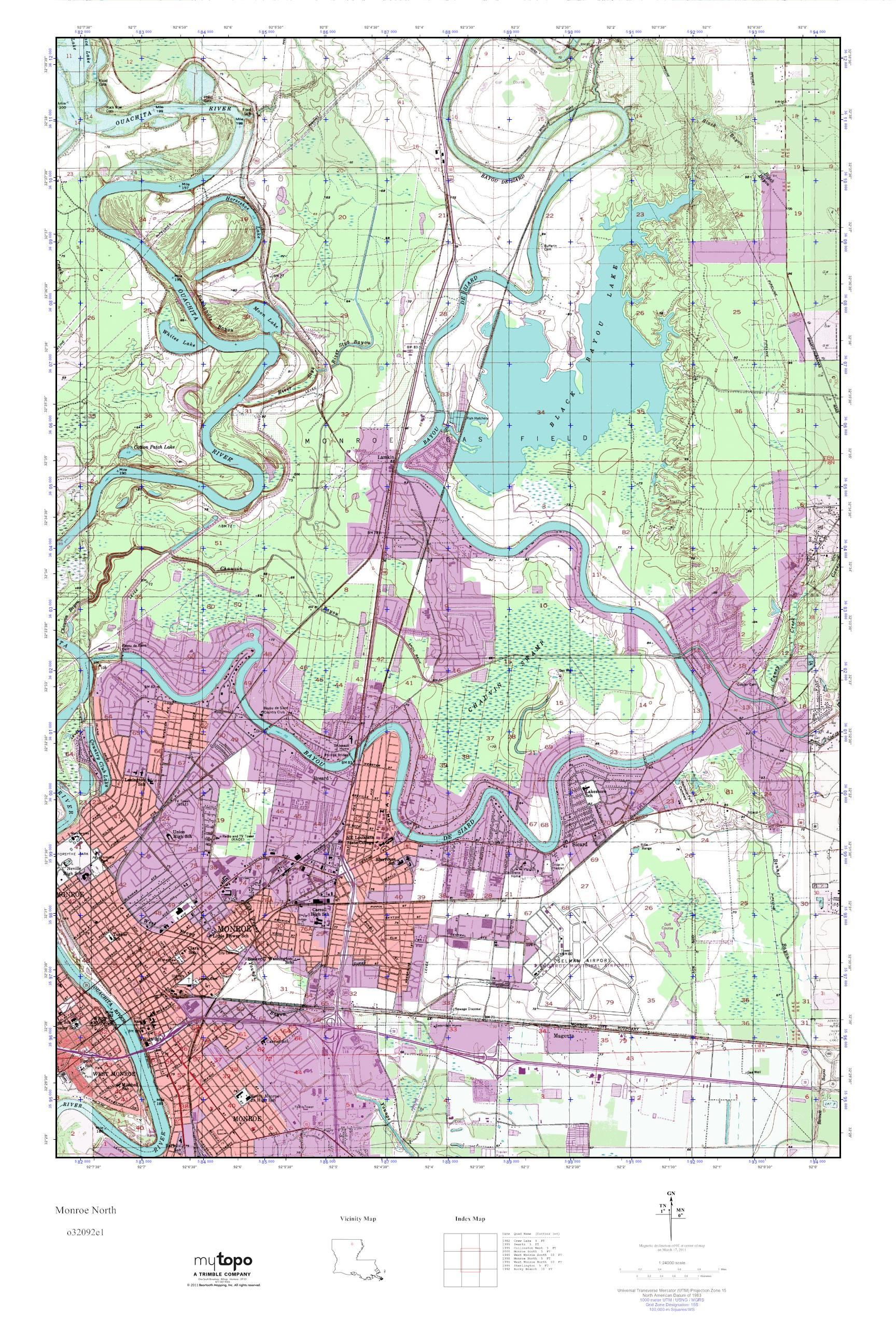 North Louisiana Map.Mytopo Monroe North Louisiana Usgs Quad Topo Map