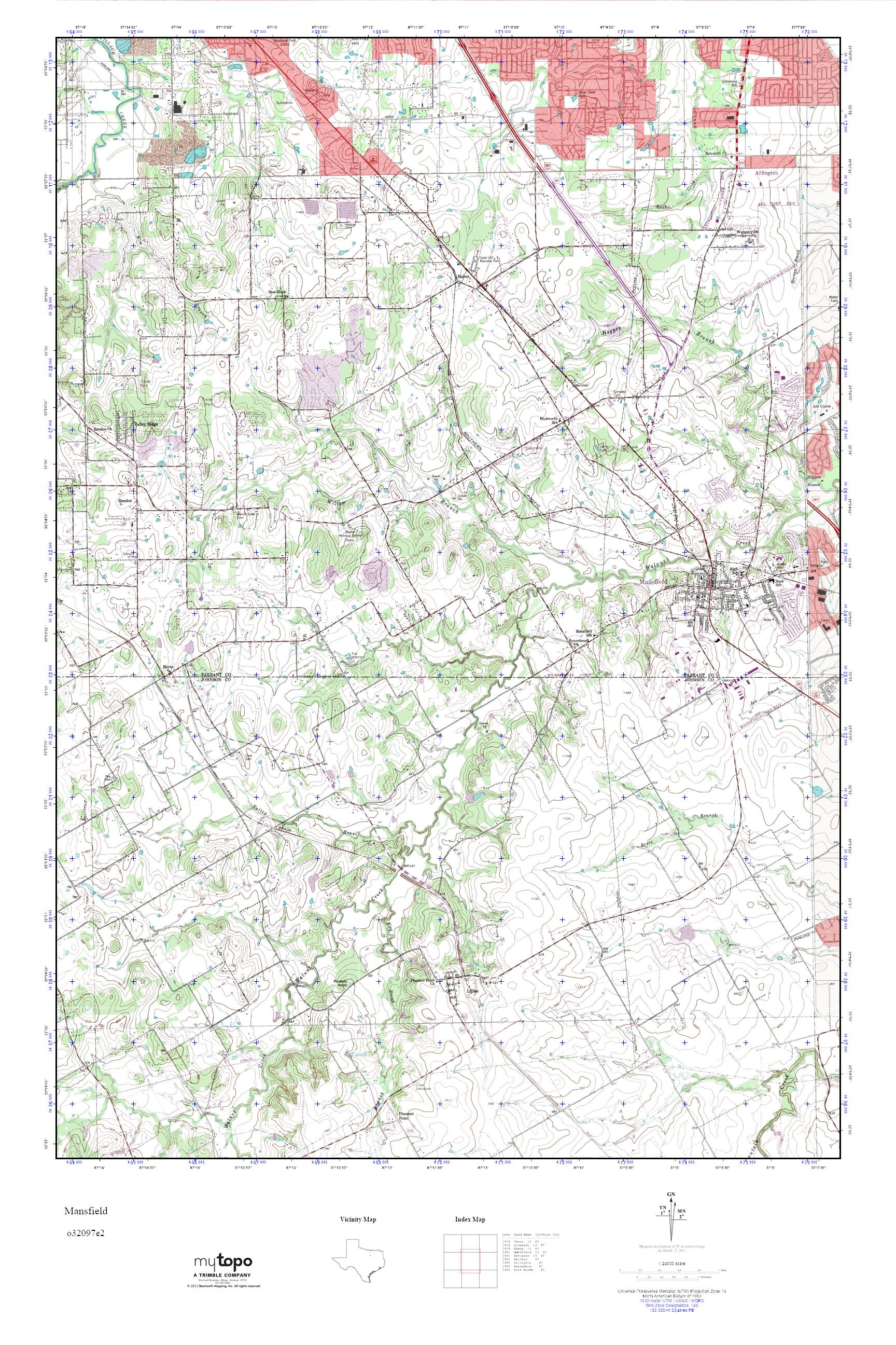 MyTopo Mansfield Texas USGS Quad Topo Map