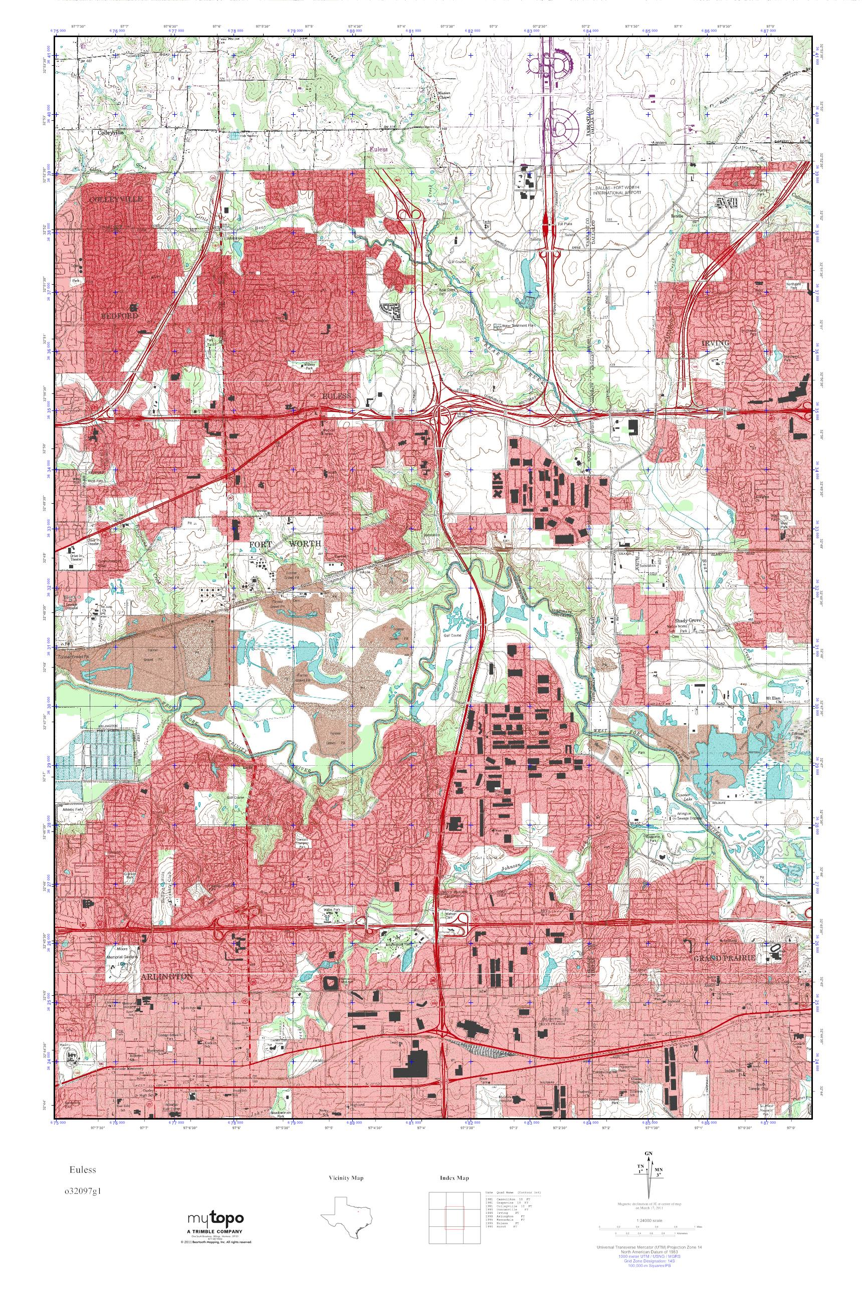 MyTopo Euless Texas USGS Quad Topo Map