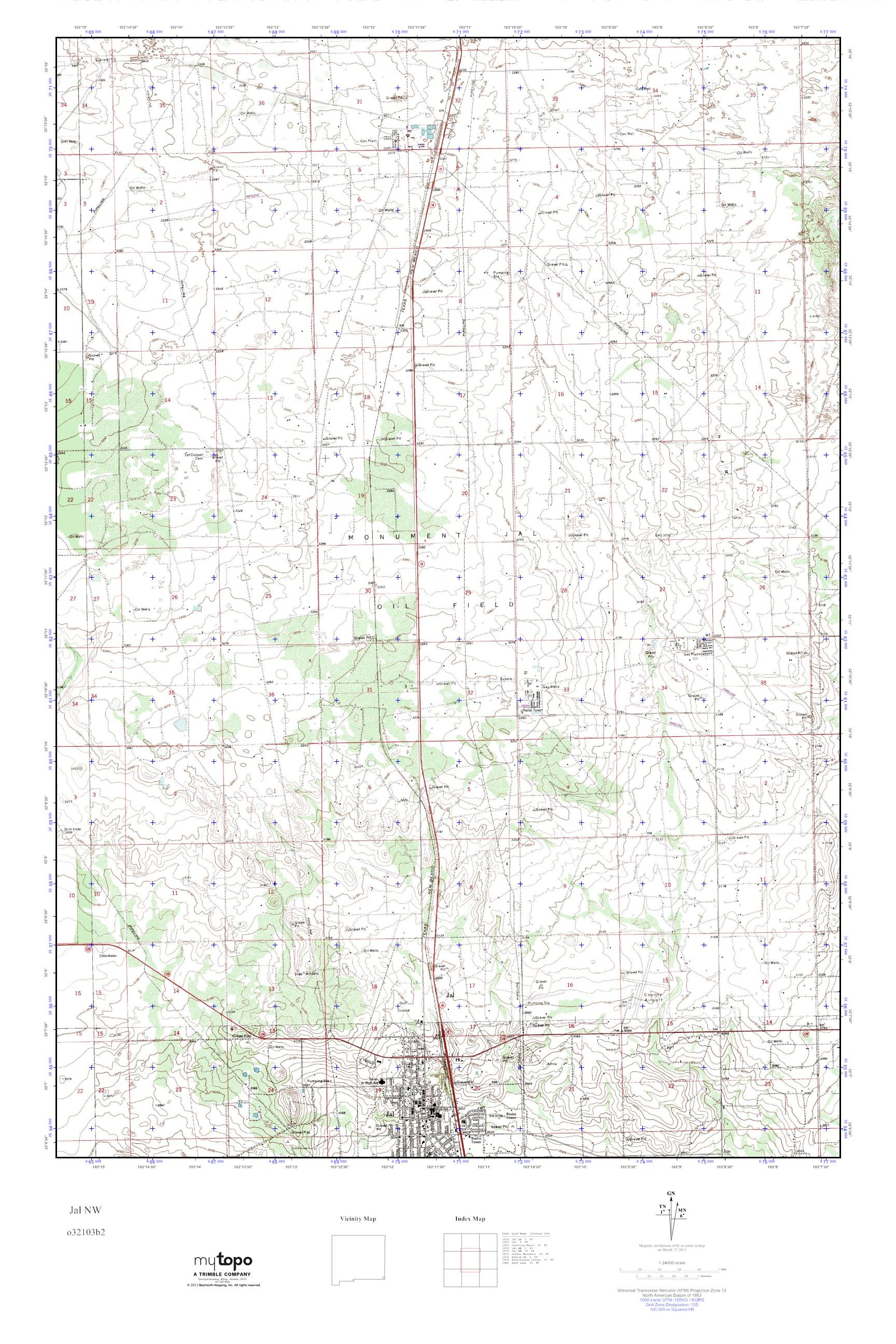 Jal New Mexico Map.Mytopo Jal Nw New Mexico Usgs Quad Topo Map
