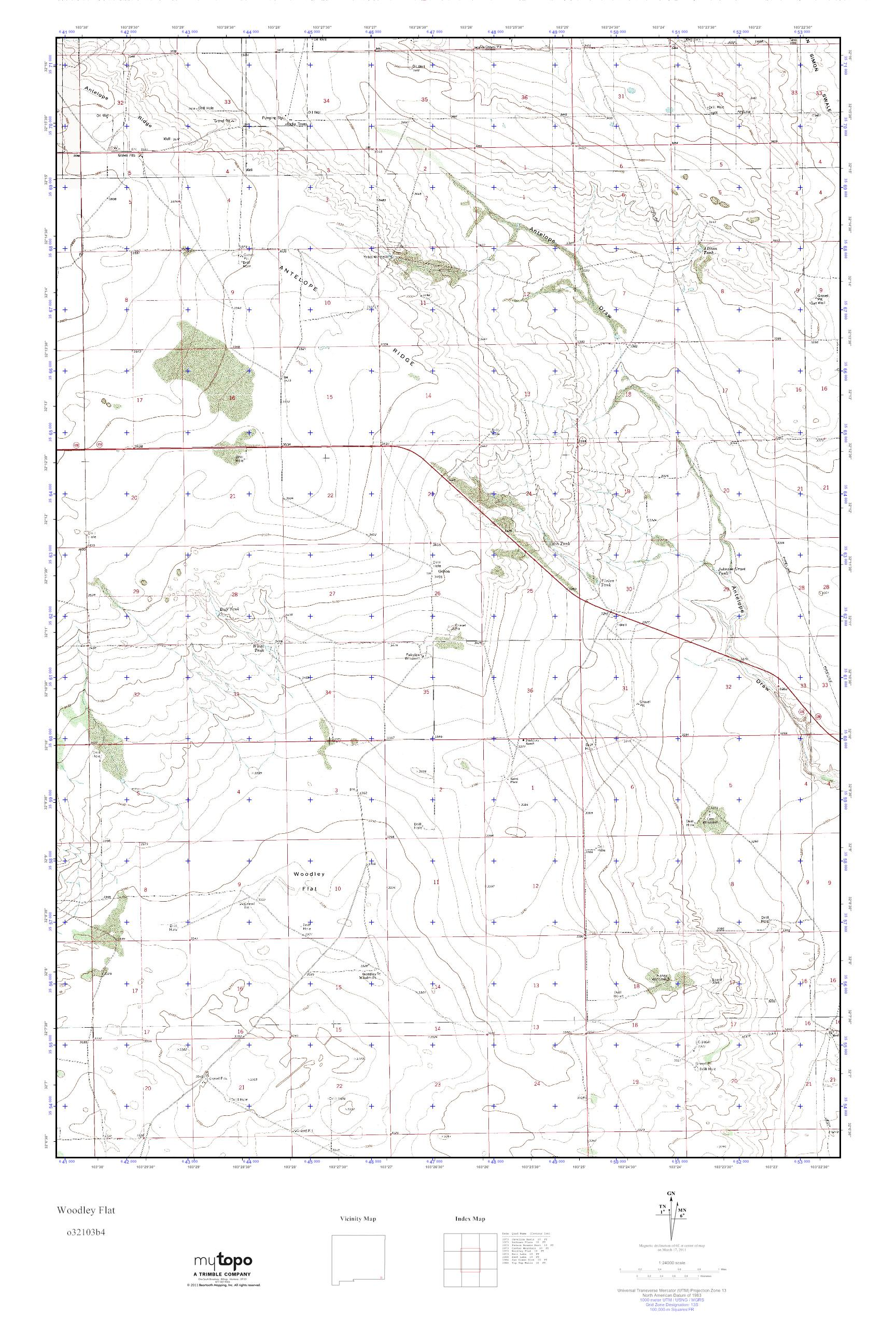 MyTopo Woodley Flat New Mexico USGS Quad Topo Map