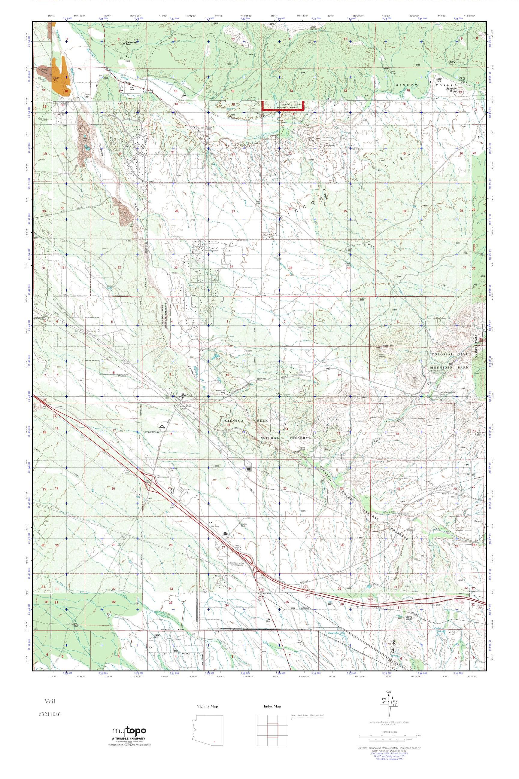 Vail Arizona Map.Mytopo Vail Arizona Usgs Quad Topo Map