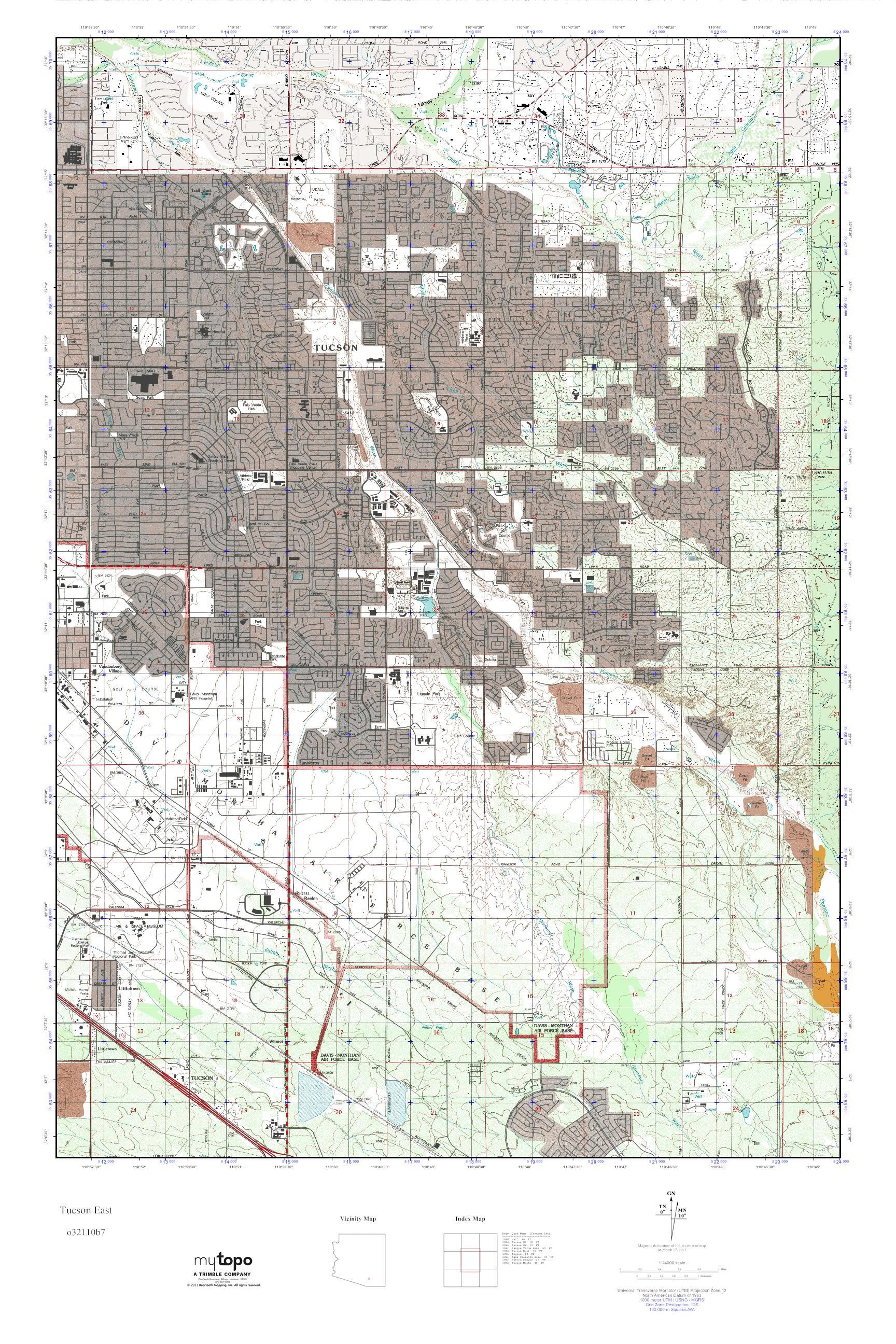 MyTopo Tucson East Arizona USGS Quad Topo Map
