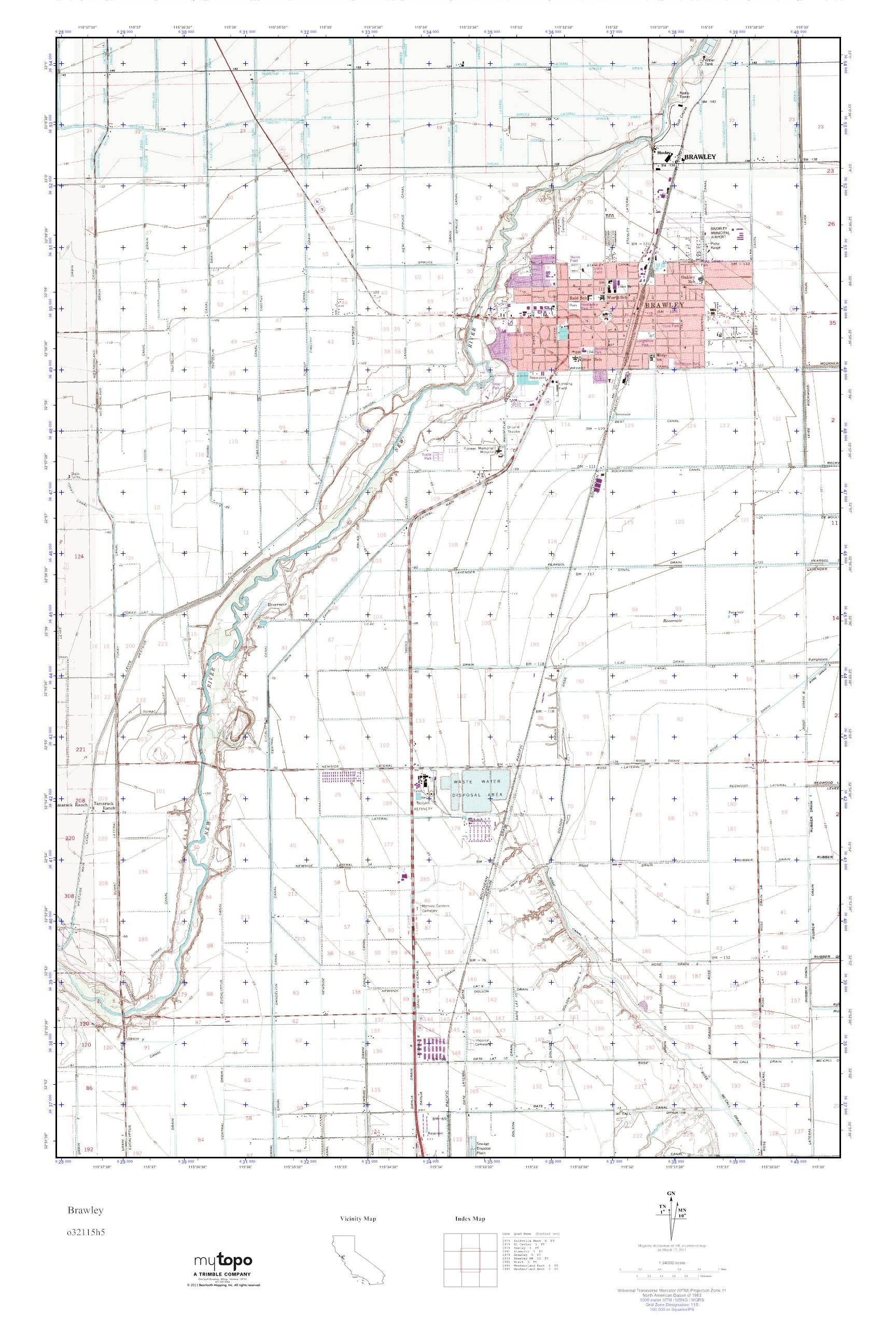 Brawley California Map.Mytopo Brawley California Usgs Quad Topo Map