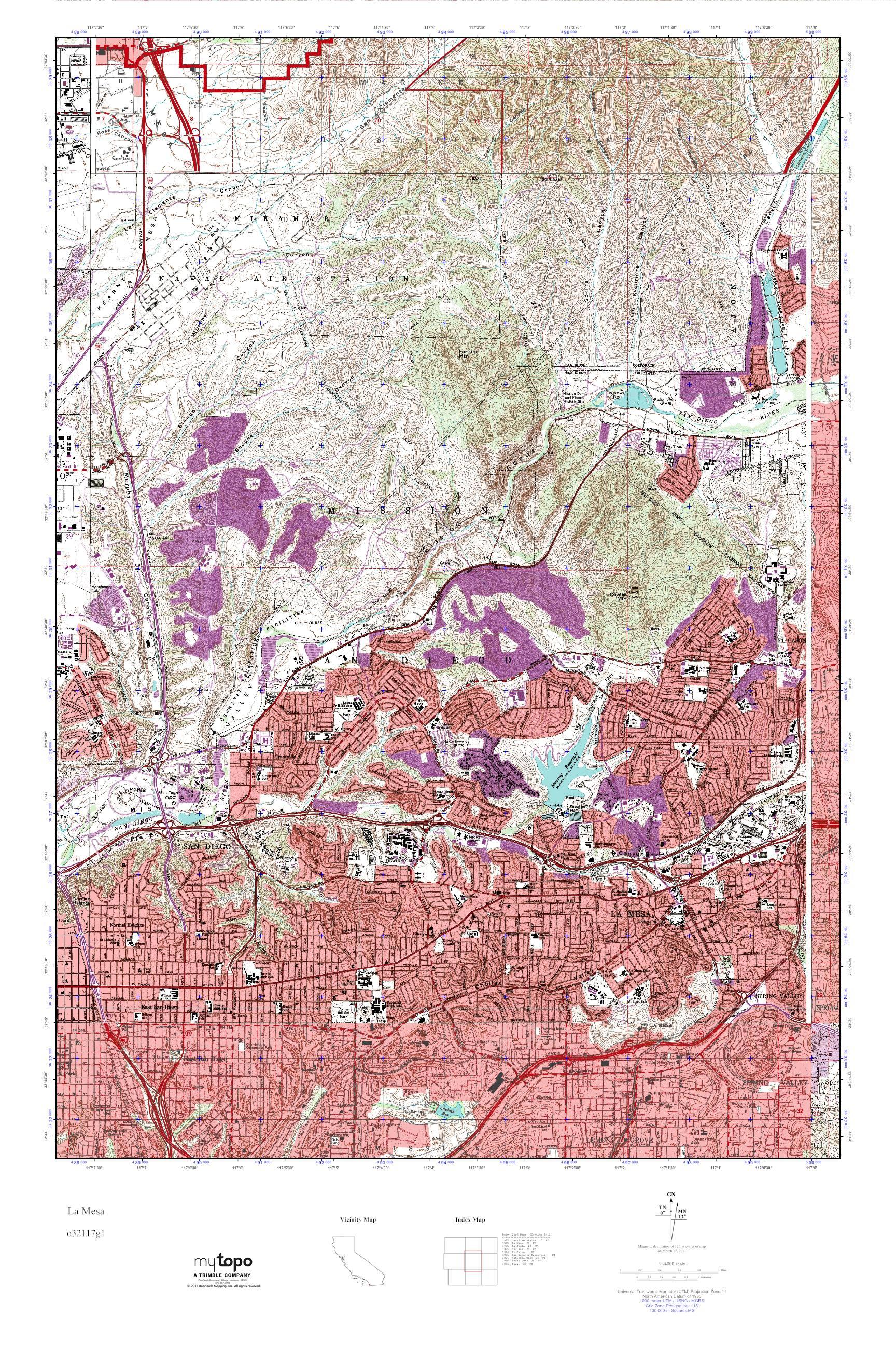 Mytopo La Mesa California Usgs Quad Topo Map